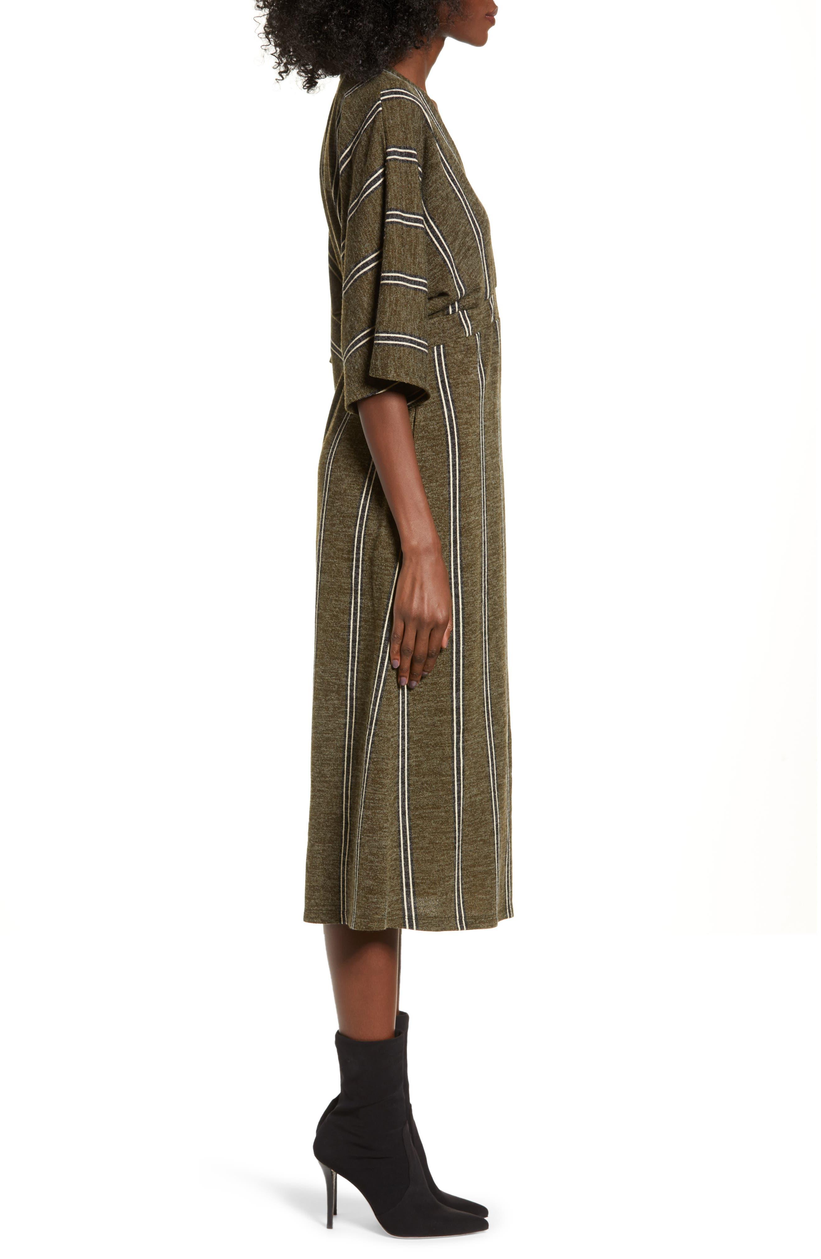 ALL IN FAVOR,                             Surplus Midi Dress,                             Alternate thumbnail 3, color,                             GREEN STRIPE