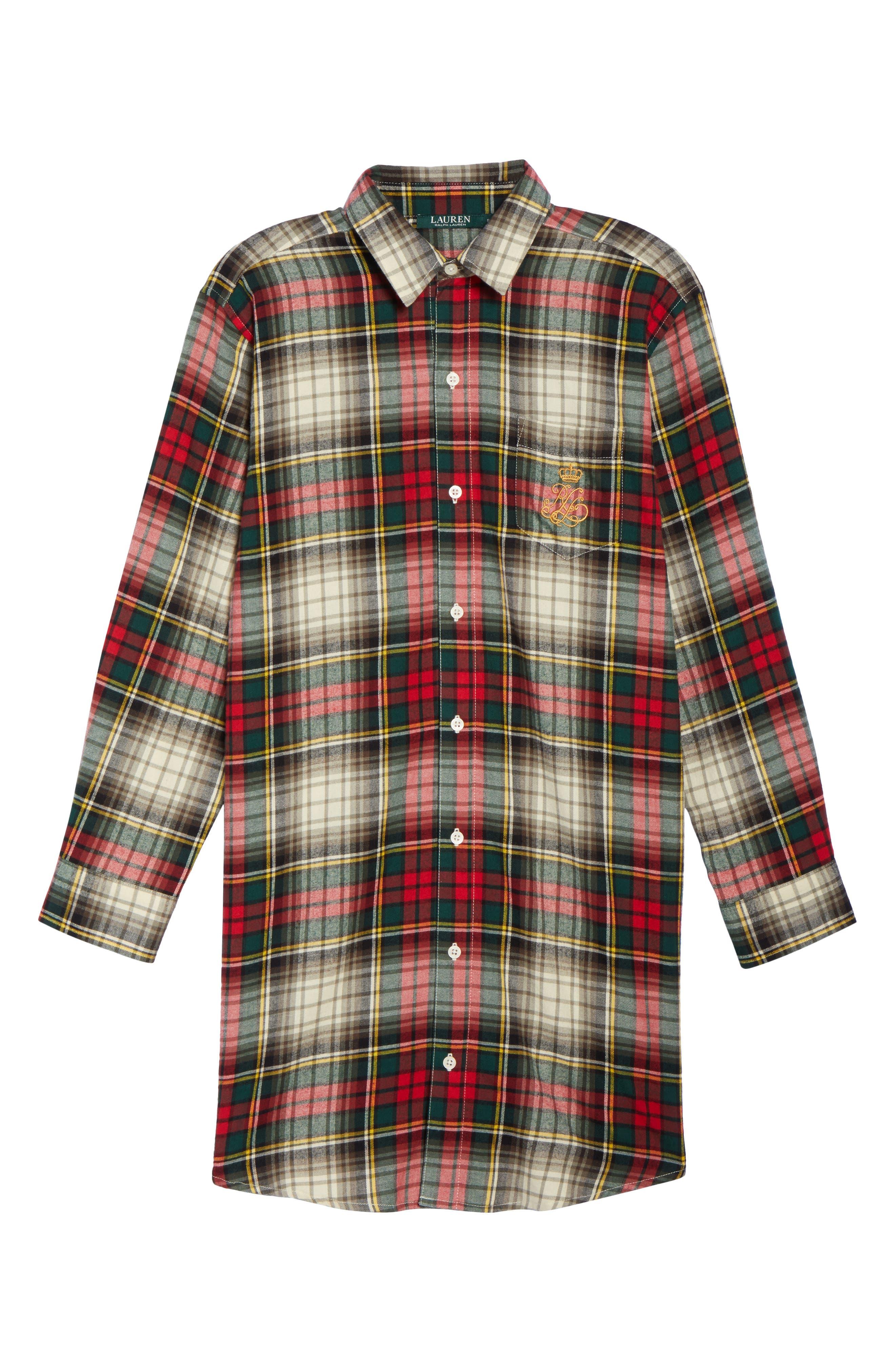 Flannel Sleep Shirt,                             Alternate thumbnail 23, color,