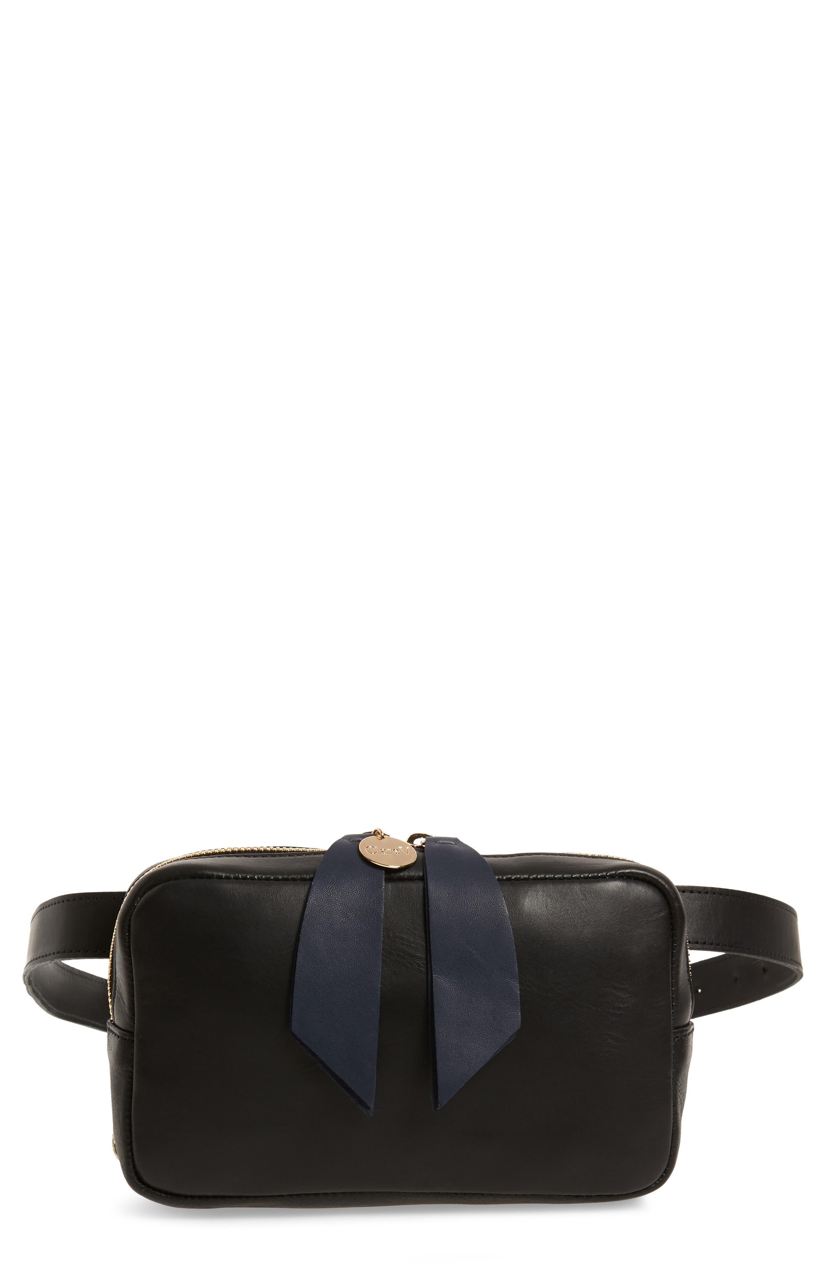 CLARE V.,                             Le Belt Leather Convertible Crossbody Bag,                             Main thumbnail 1, color,                             BLACK VEGAN