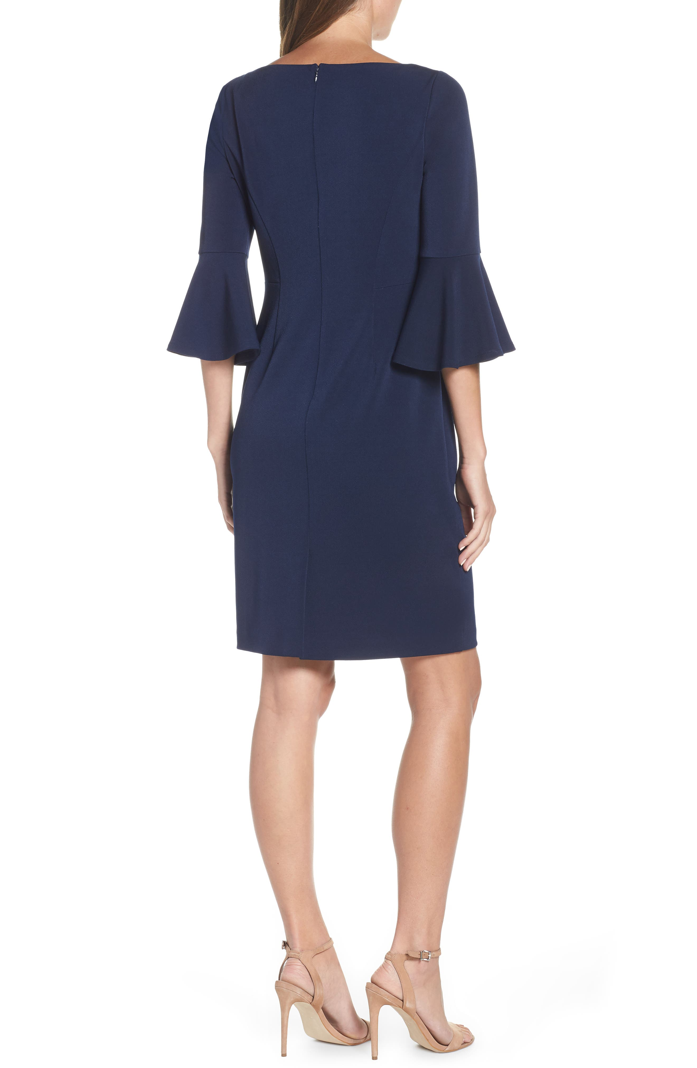HARPER ROSE,                             Bell Sleeve Bateau Neck Sheath Dress,                             Alternate thumbnail 2, color,                             NAVY