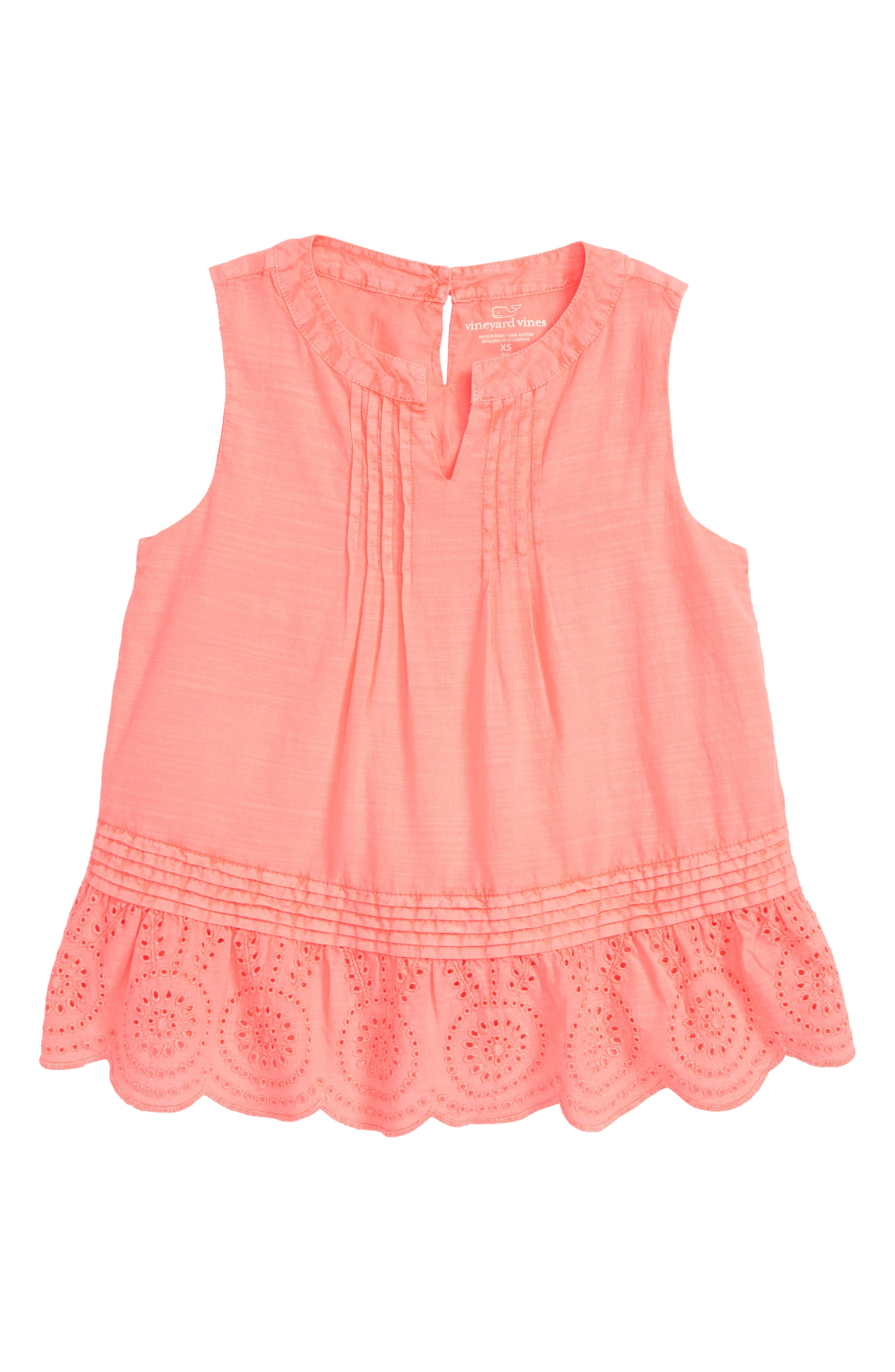 Sleeveless Eyelet Trim Top,                         Main,                         color, CORAL SAND