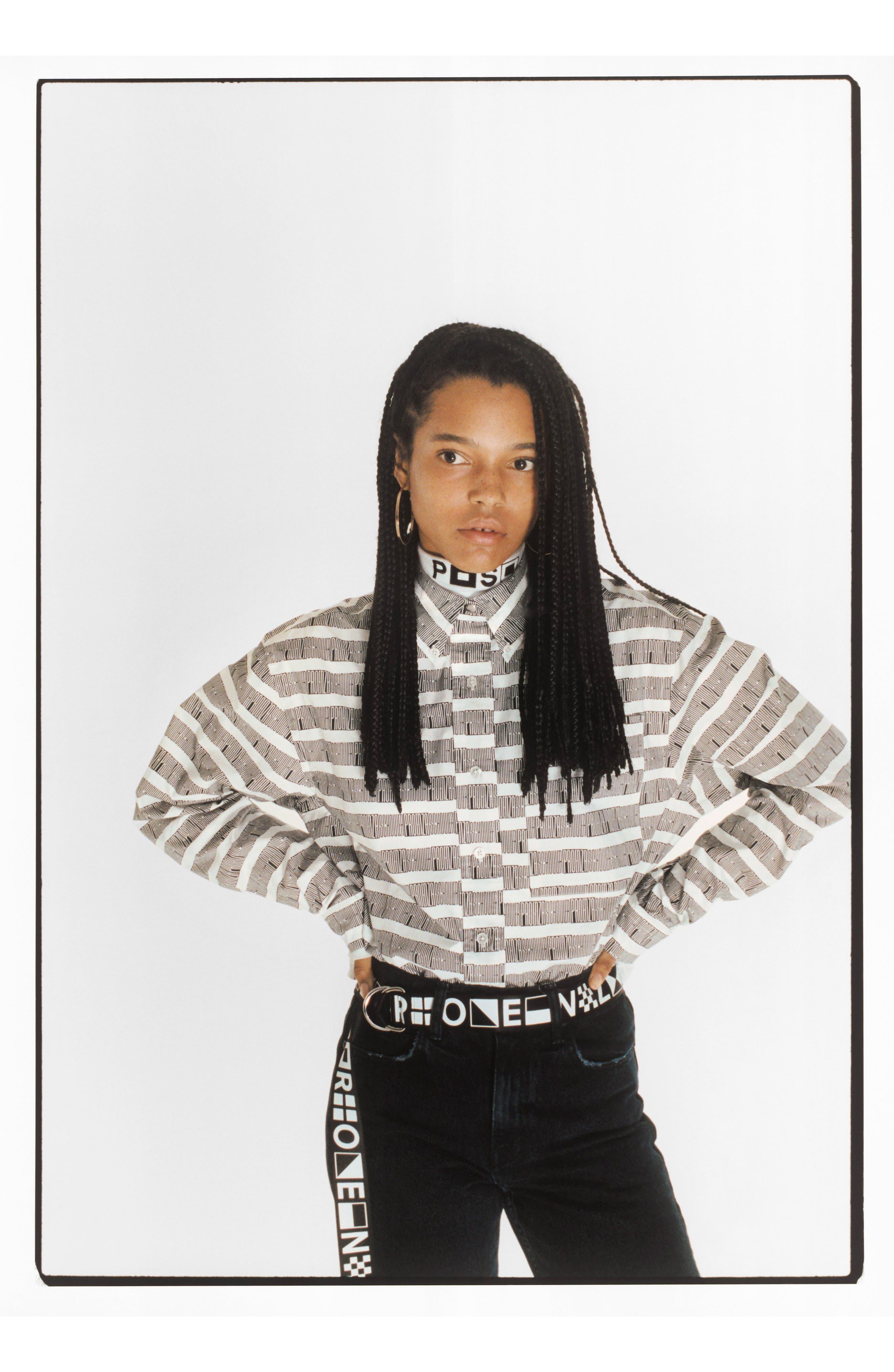 PSWL Graphic Stripe Cotton Top,                             Alternate thumbnail 7, color,                             001