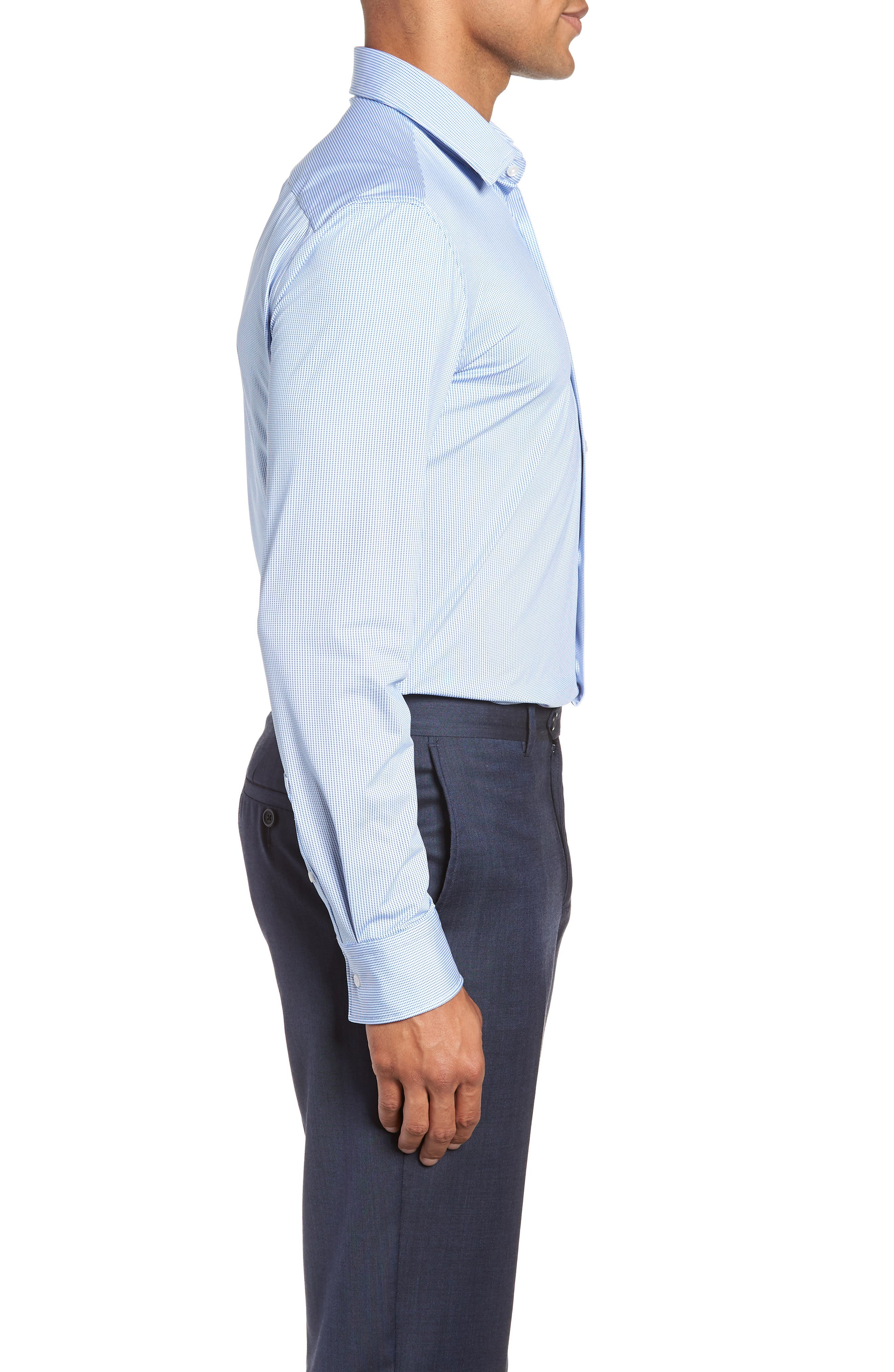 Jenno Slim Fit Stretch Check Dress Shirt,                             Alternate thumbnail 4, color,                             BLUE