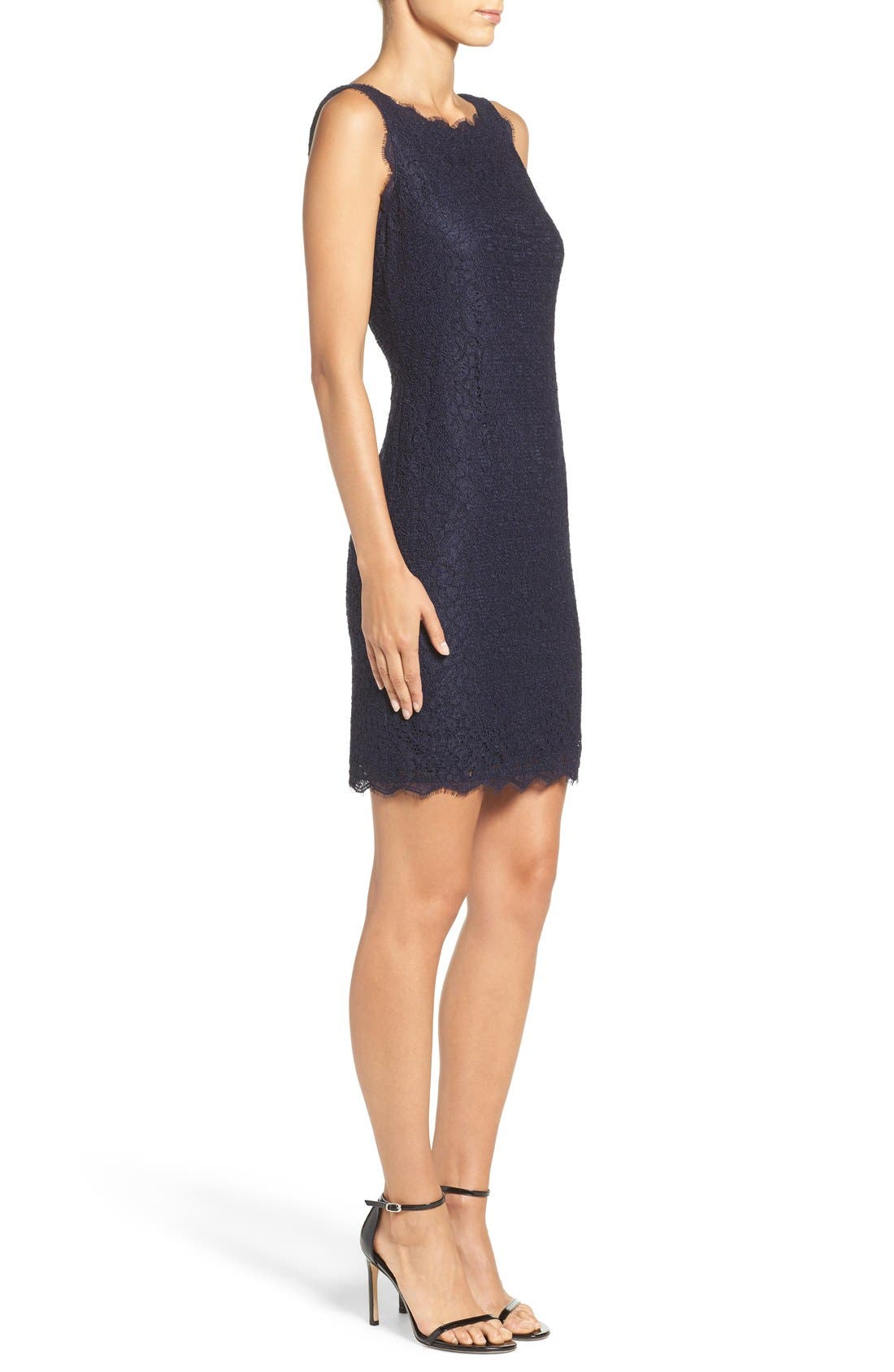 Boatneck Lace Sheath Dress,                             Alternate thumbnail 156, color,