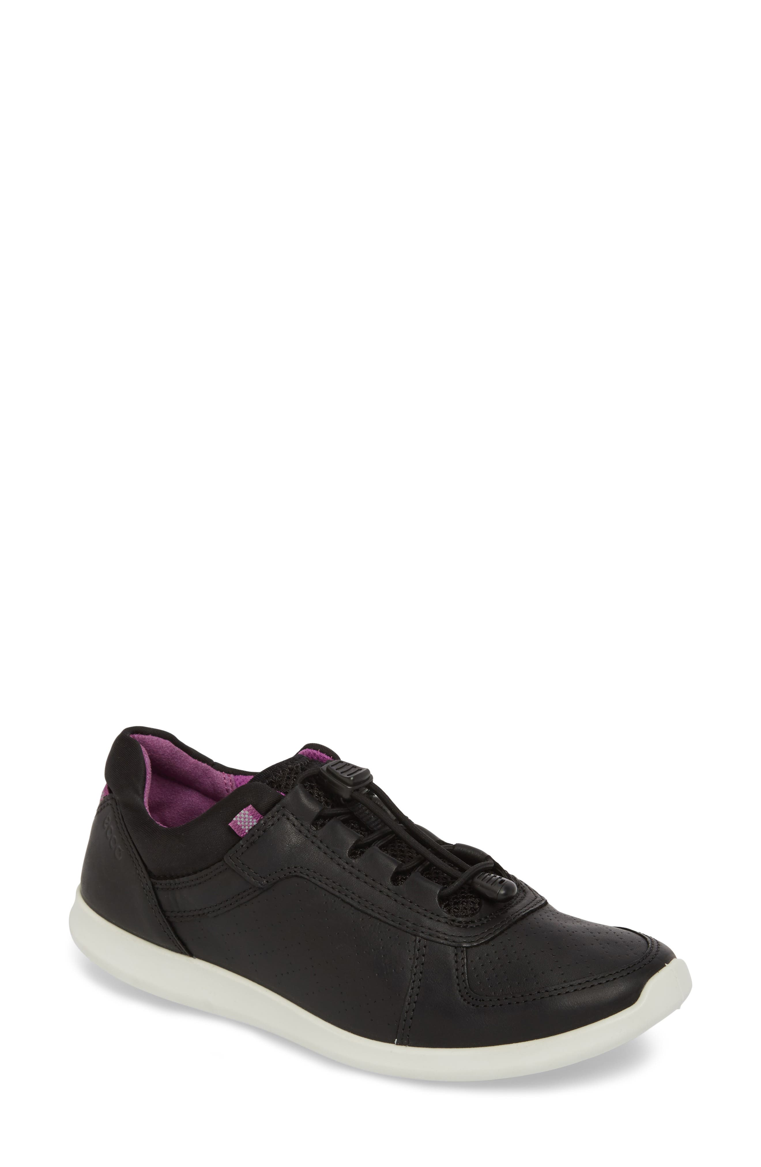 Sense Toggle Cord Sneaker,                         Main,                         color, BLACK LEATHER