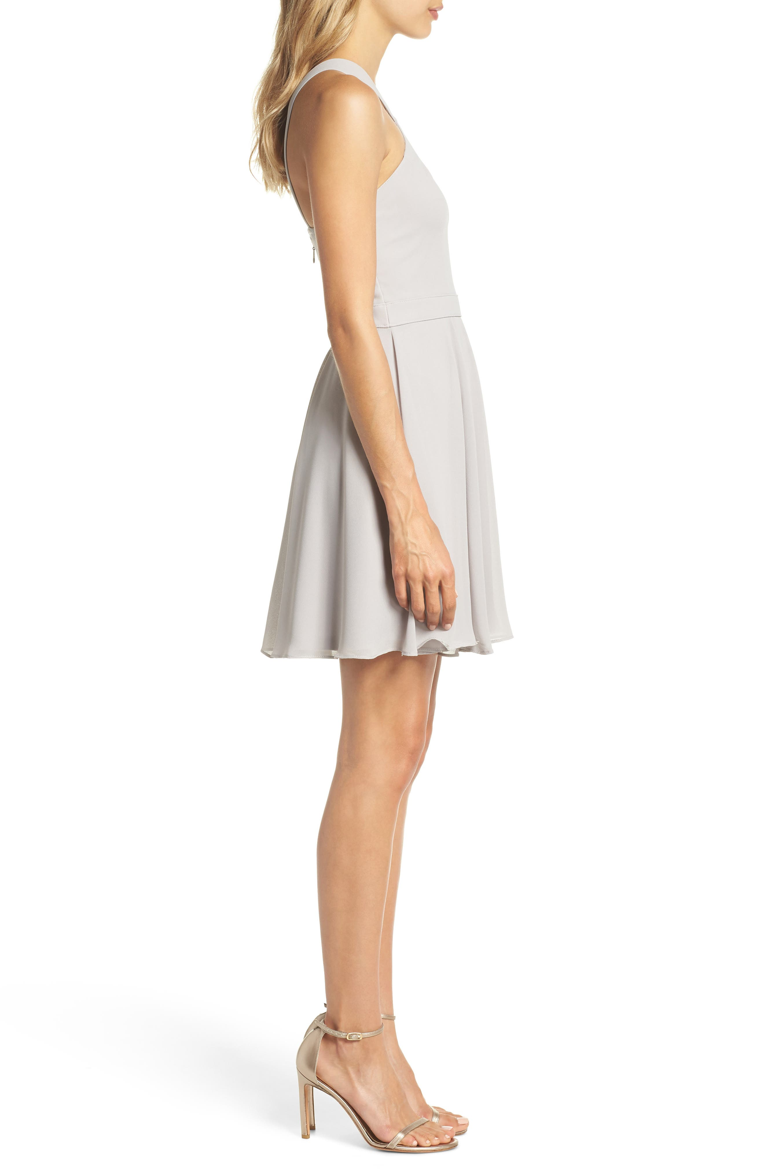 Forevermore Skater Dress,                             Alternate thumbnail 3, color,                             GREY