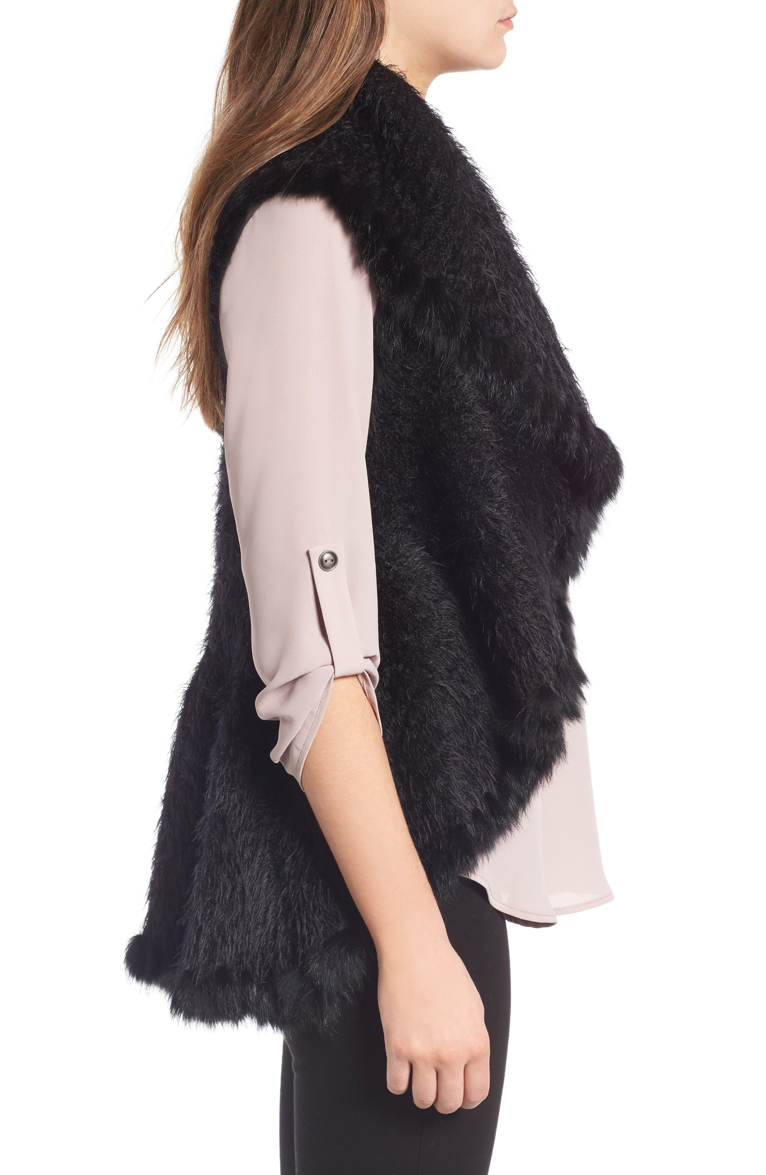 Knit Vest with Genuine Rabbit Fur Trim,                             Alternate thumbnail 7, color,