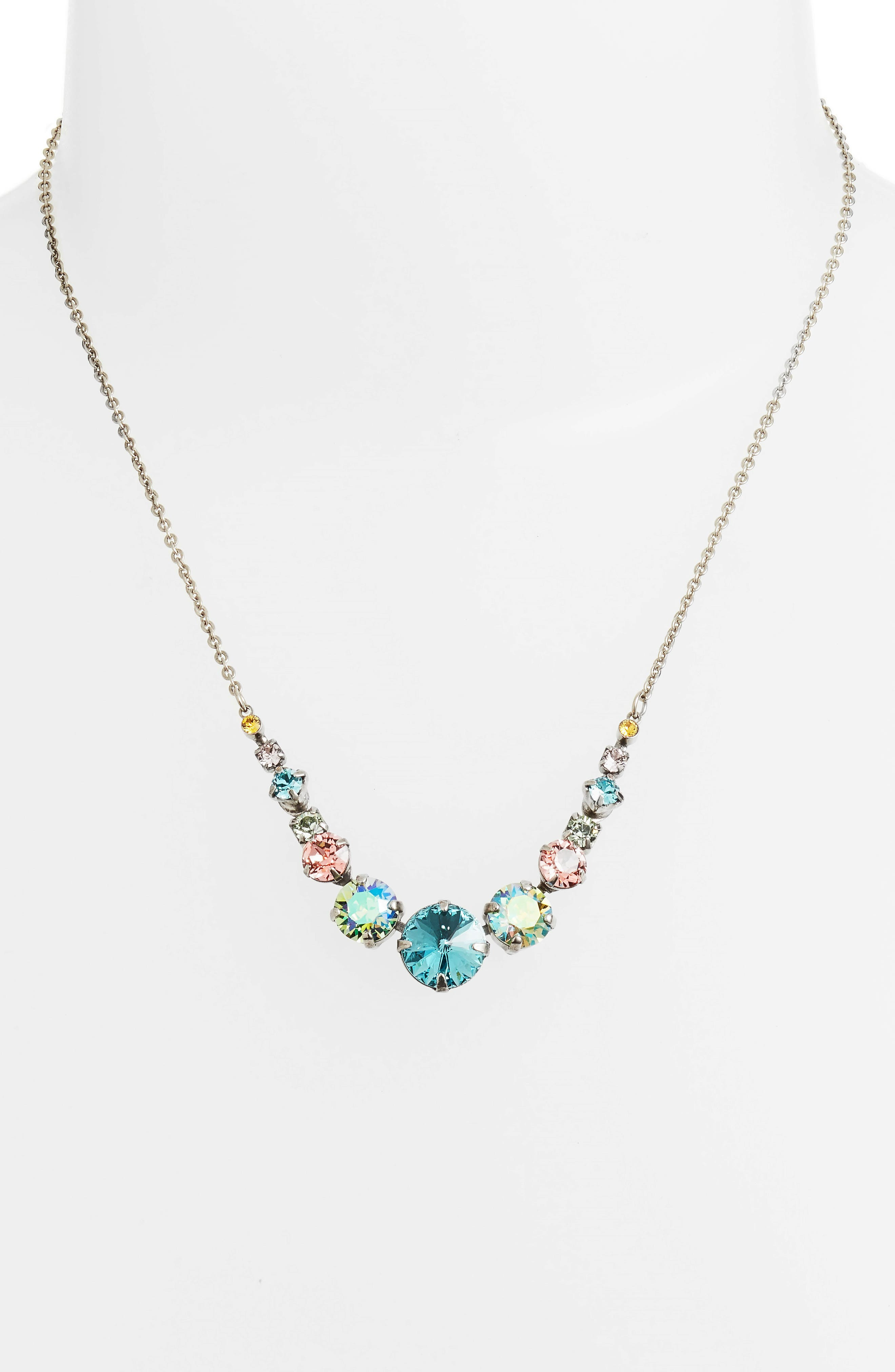 Delicate Round Crystal Necklace,                             Alternate thumbnail 2, color,                             AQUA/ PINK/ GREEN