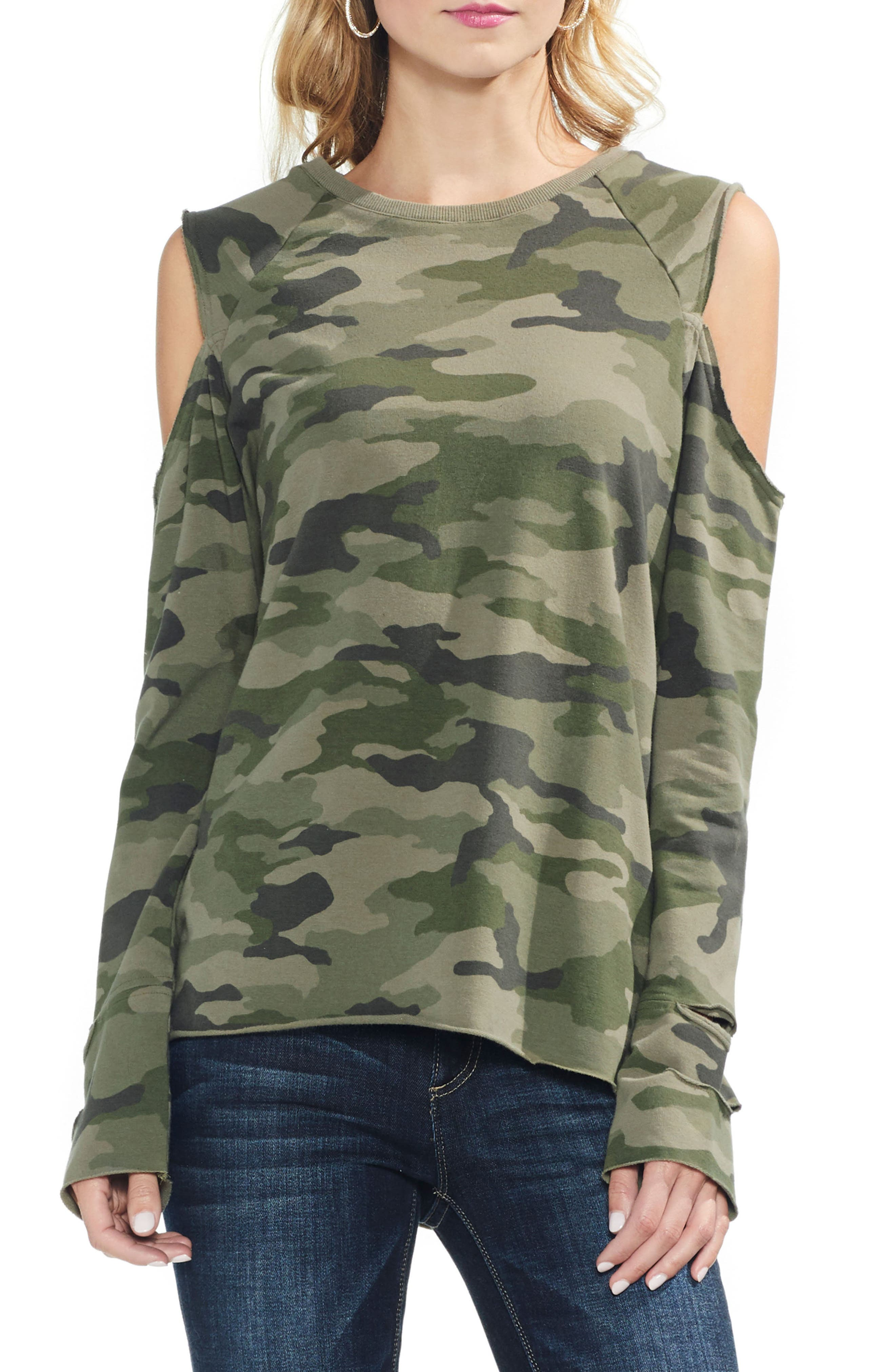 Cold Shoulder Camo Sweatshirt,                             Main thumbnail 1, color,                             344