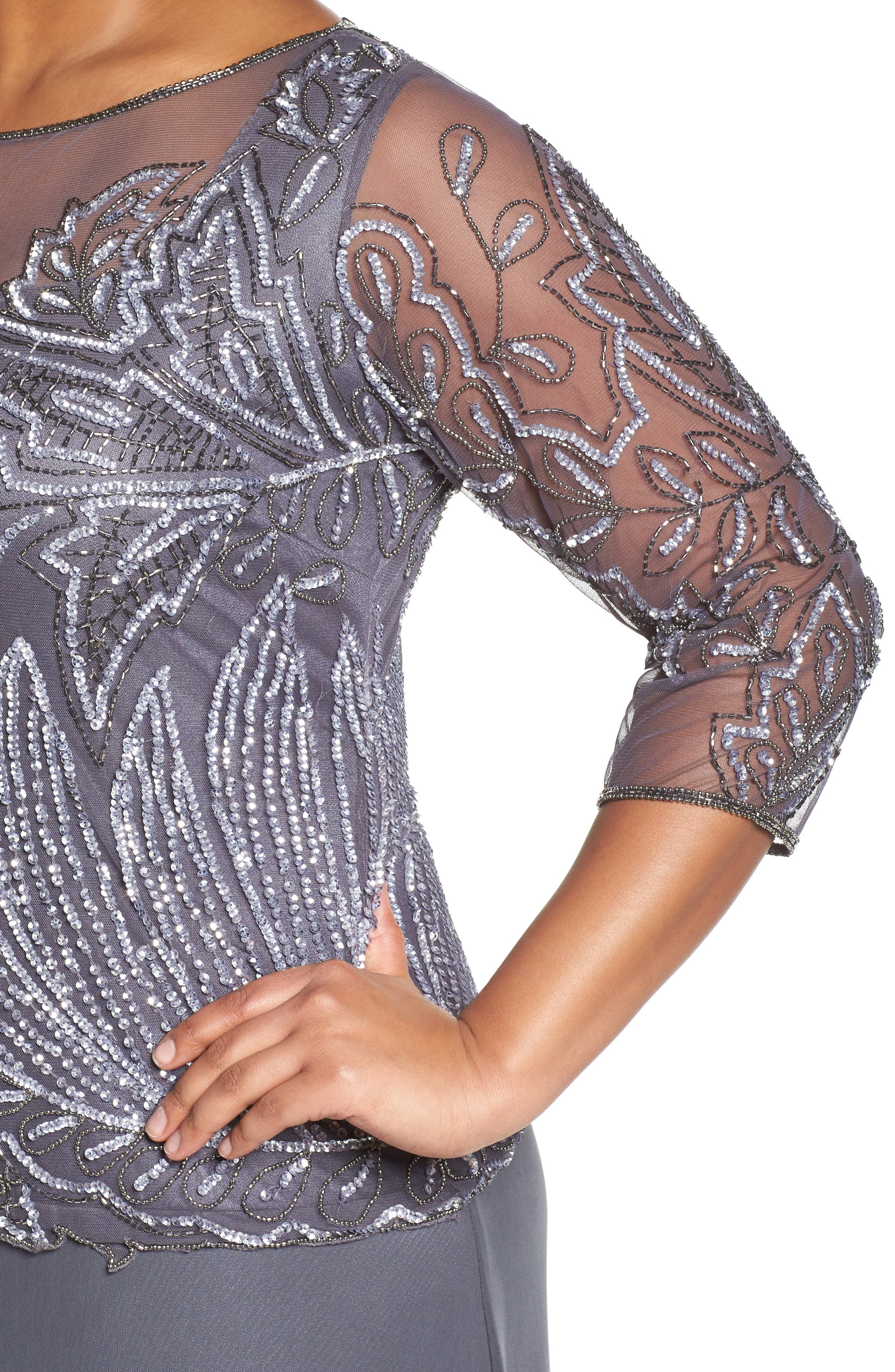 Illusion Neck Beaded A-Line Gown,                             Alternate thumbnail 4, color,                             NEW SLATE