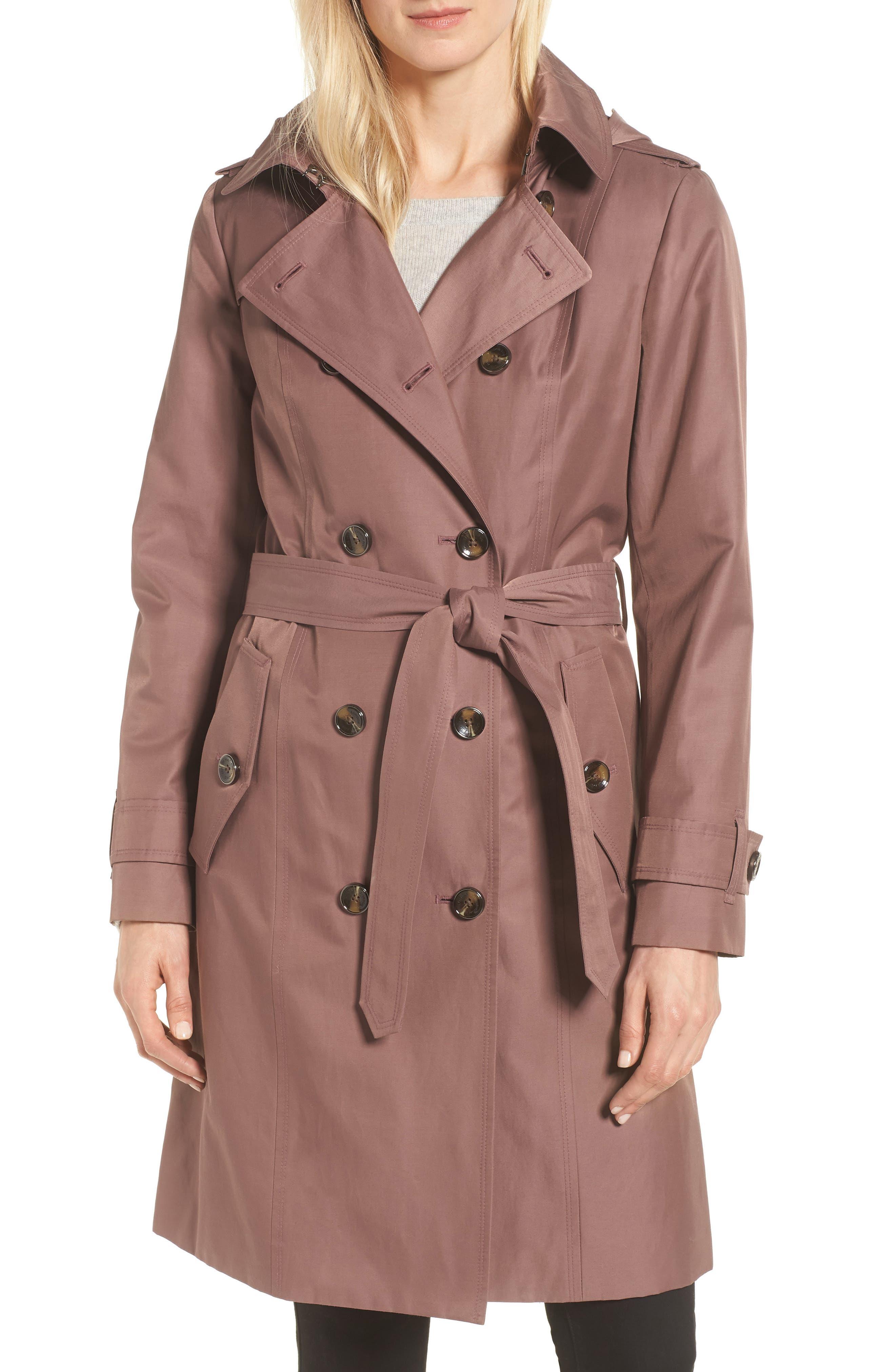 Knee Length Trench Coat,                             Main thumbnail 1, color,                             ADOBE