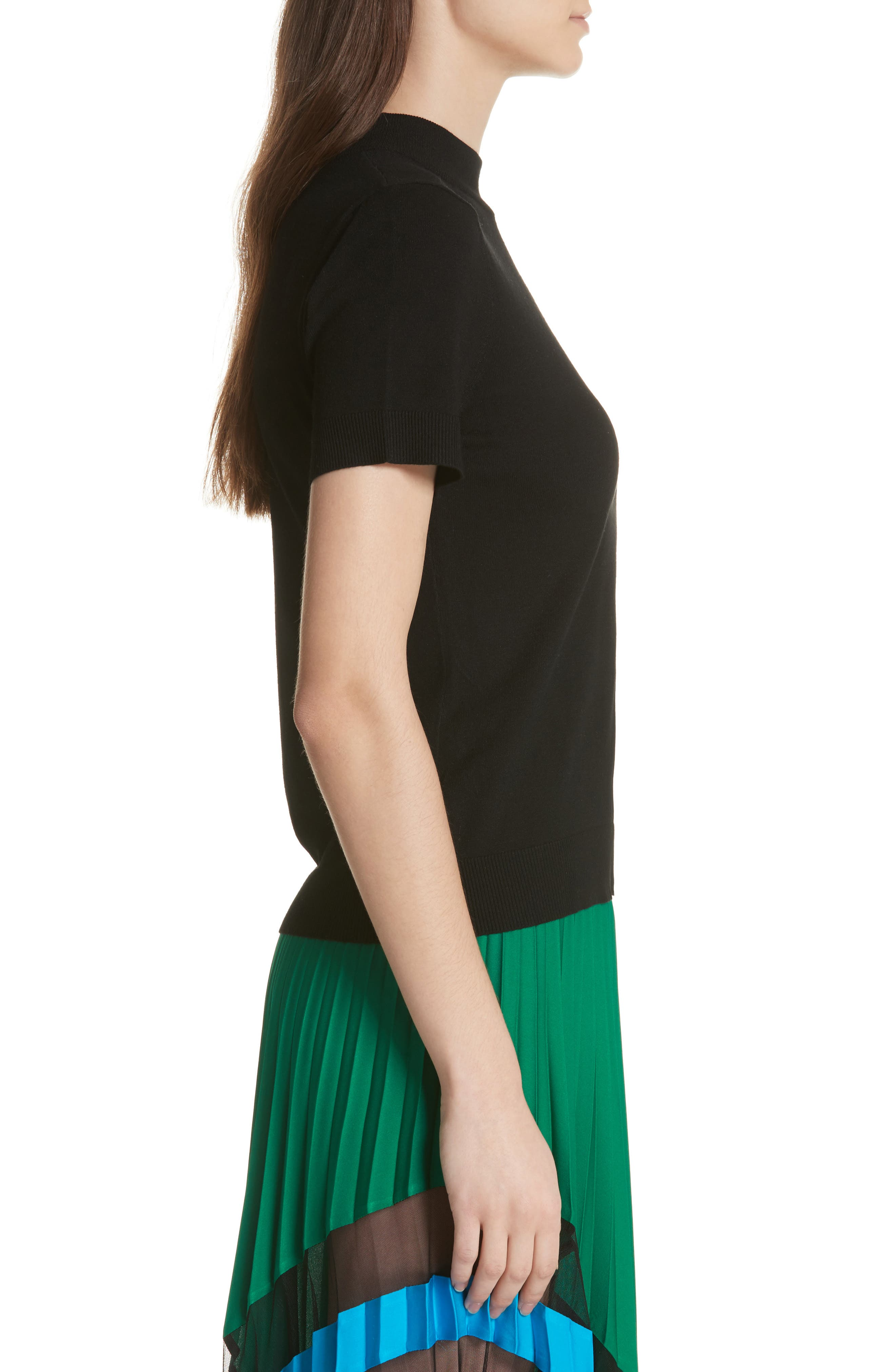 MILLY,                             Mock Neck Tee,                             Alternate thumbnail 3, color,                             001