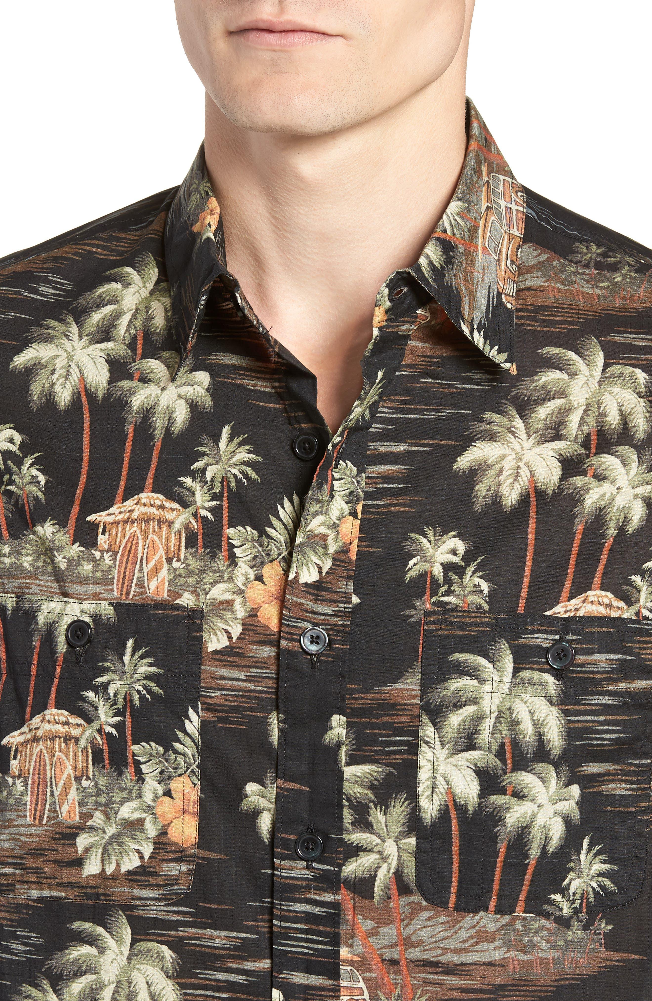 Wallace & Barnes Regular Fit Tropical Print Sport Shirt,                             Alternate thumbnail 4, color,                             001