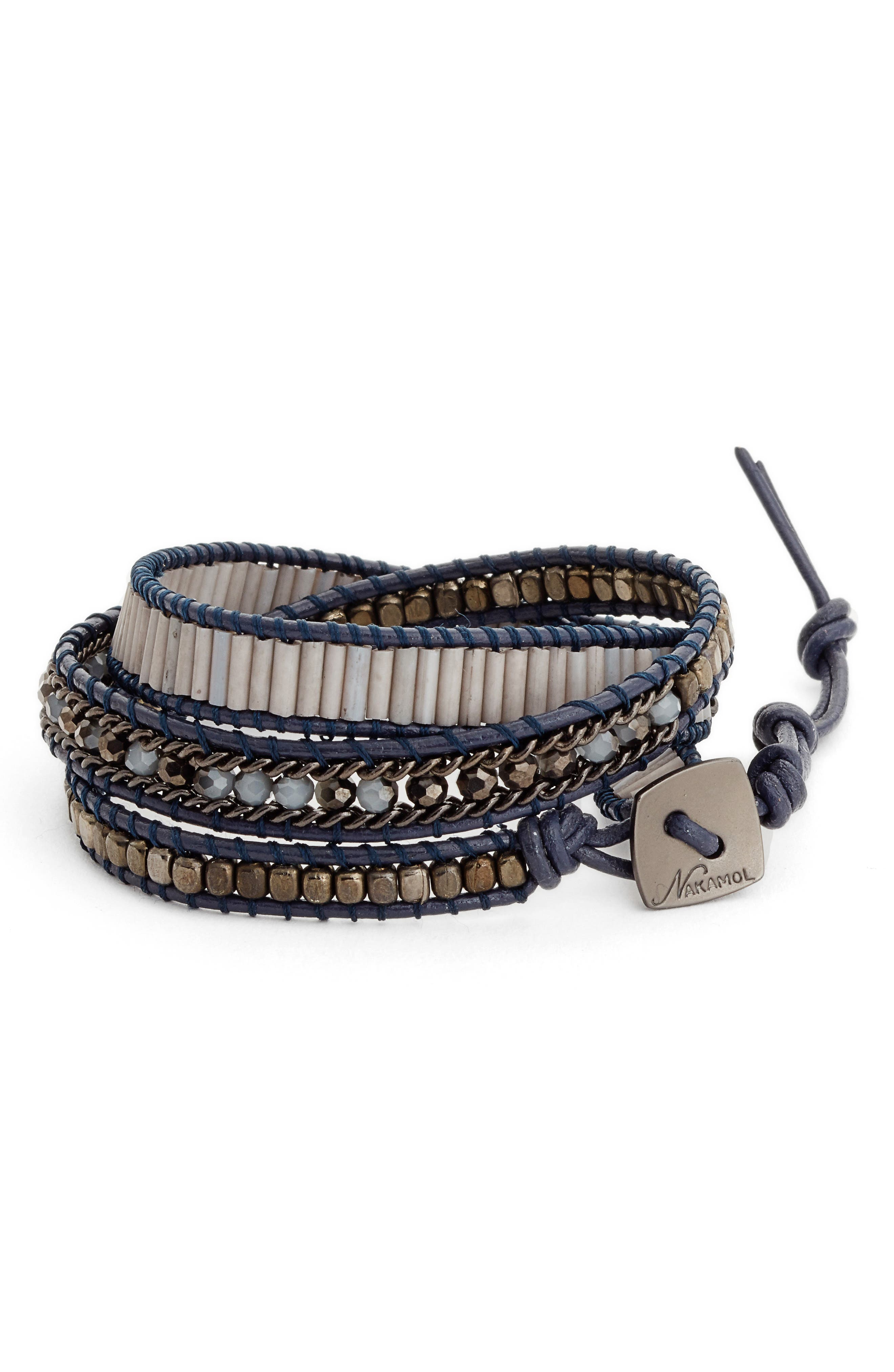 Leather & Crystal Wrap Bracelet,                         Main,                         color, 400