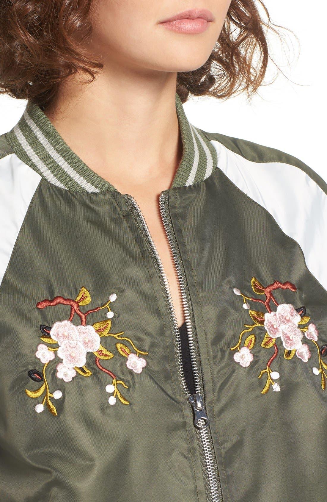 Embroidered Satin Bomber Jacket,                             Alternate thumbnail 4, color,                             310