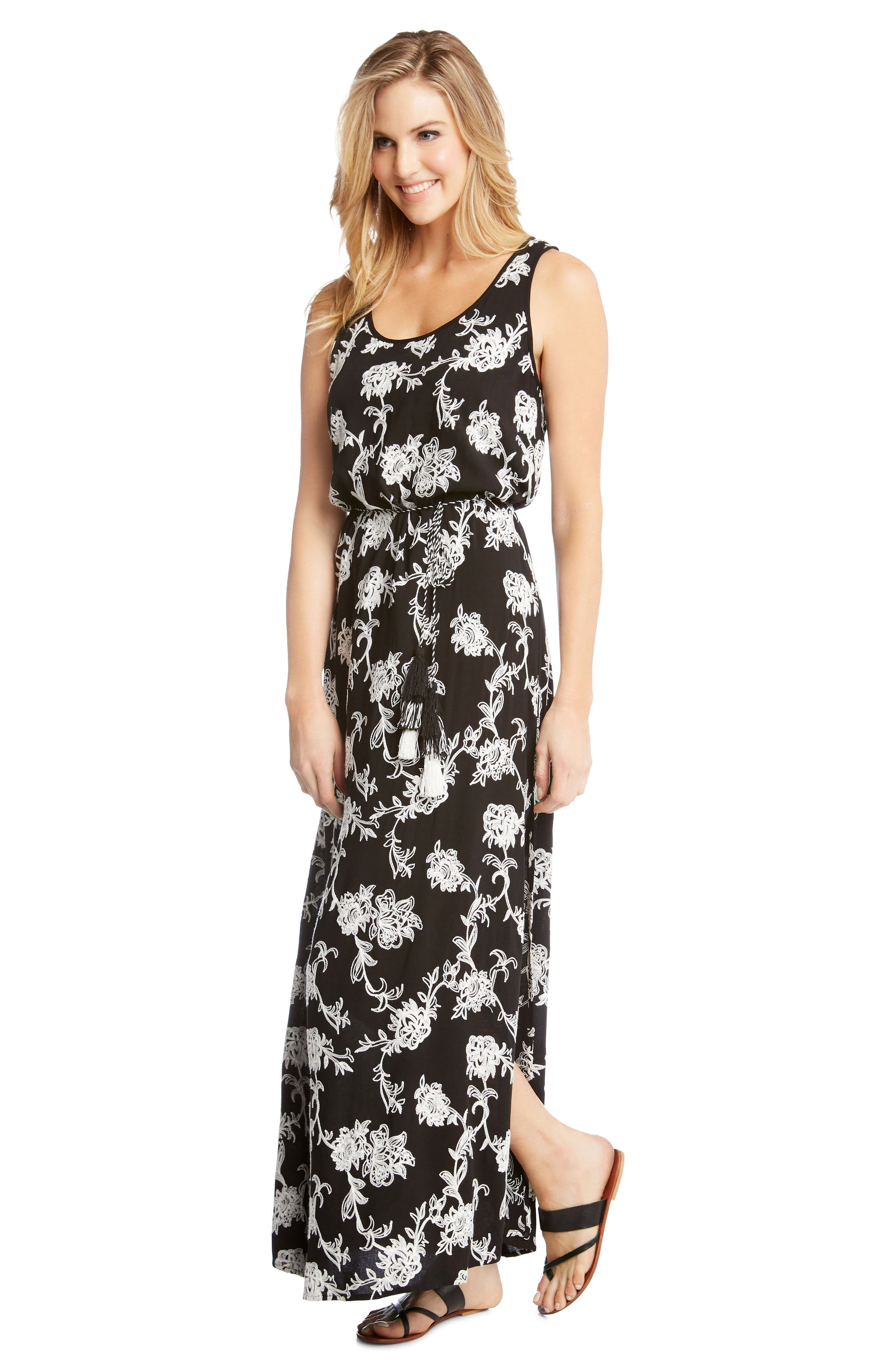 Embroidered A-Line Max Dress,                             Alternate thumbnail 4, color,                             BLACK