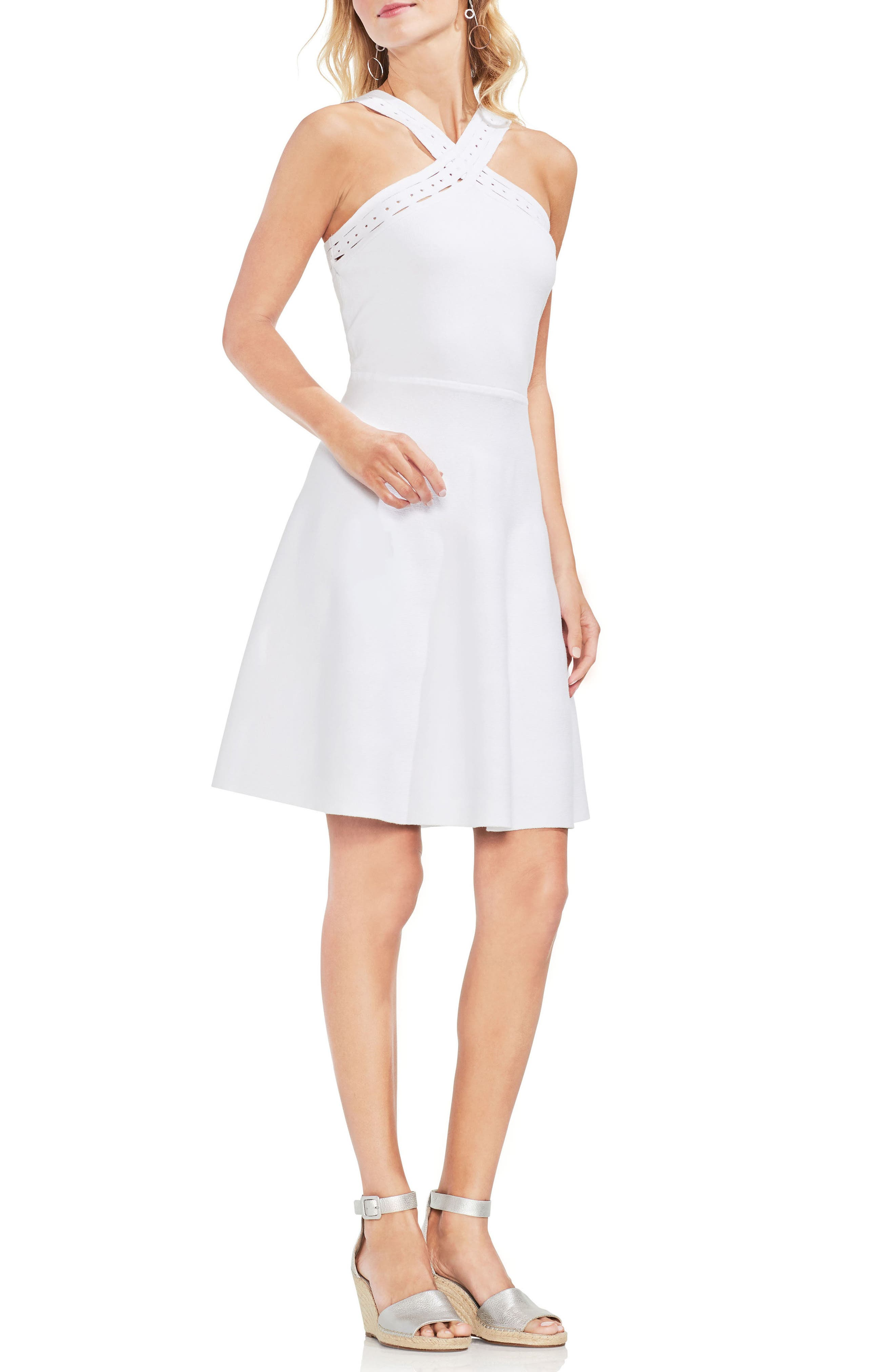 Crisscross Fit & Flare Sweater Dress,                             Main thumbnail 2, color,