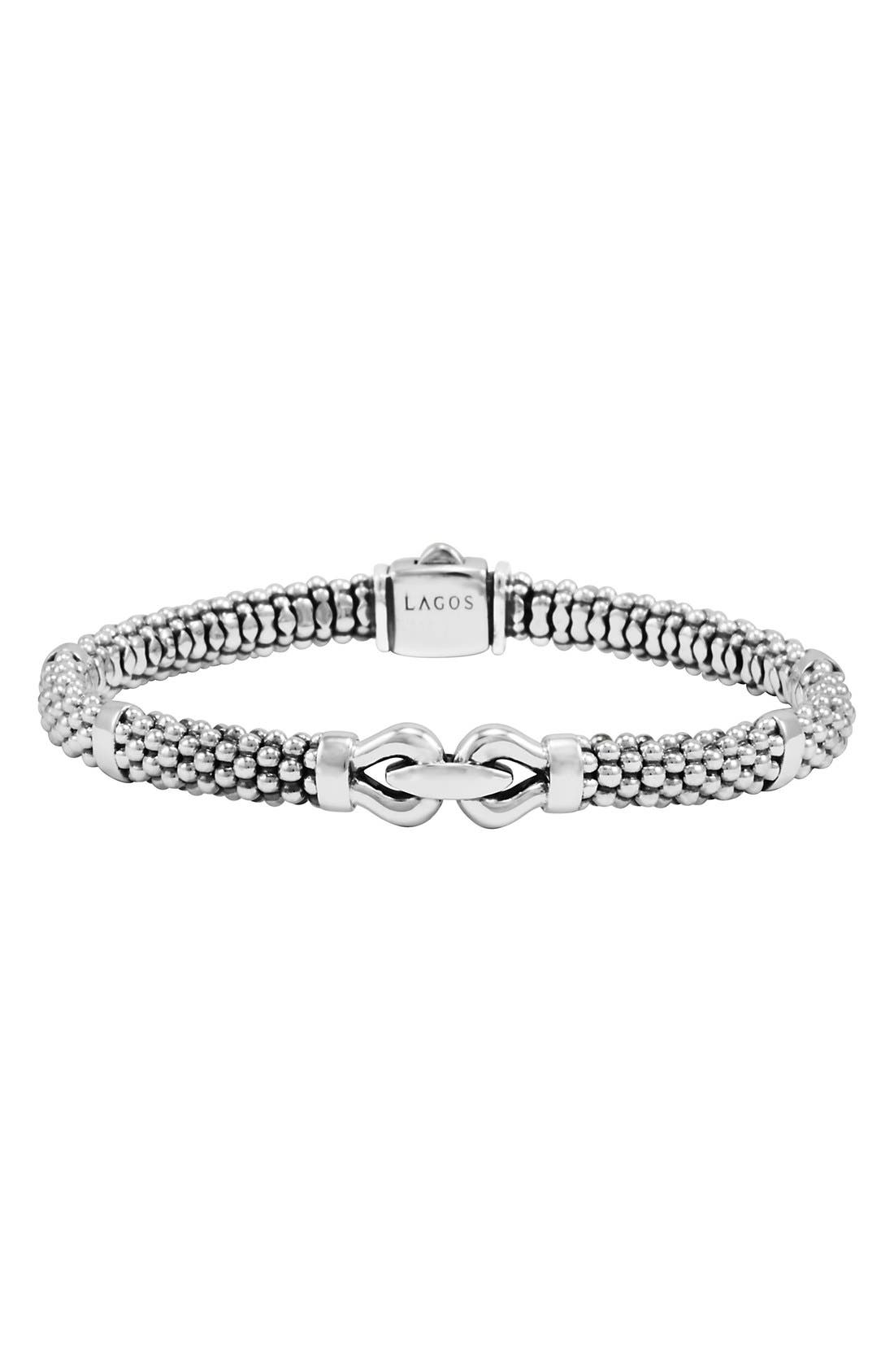 'Derby' Buckle Rope Bracelet,                             Main thumbnail 1, color,                             STERLING SILVER