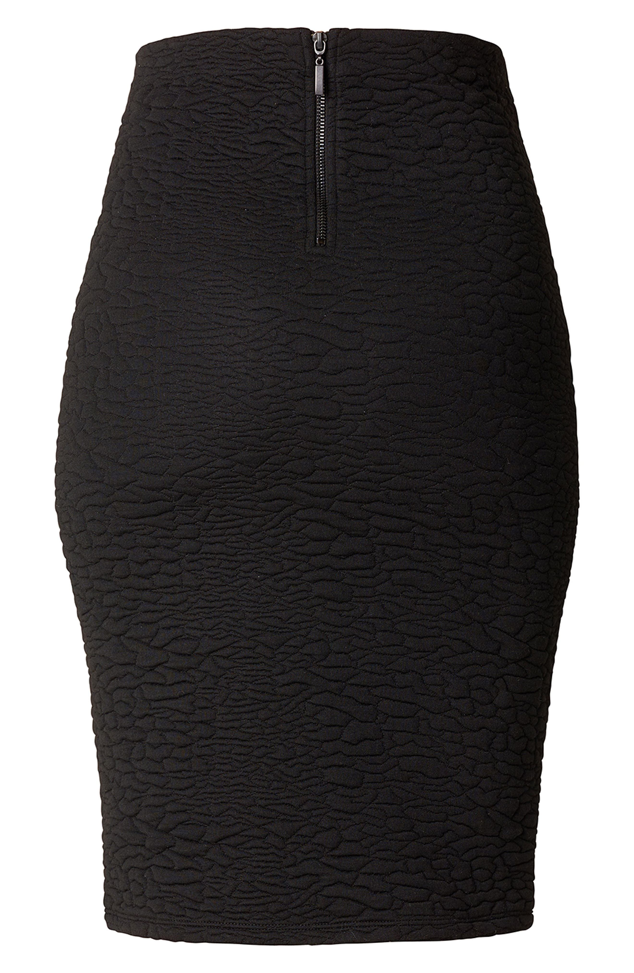 Jane Textured Knit Maternity Skirt,                             Alternate thumbnail 3, color,                             BLACK