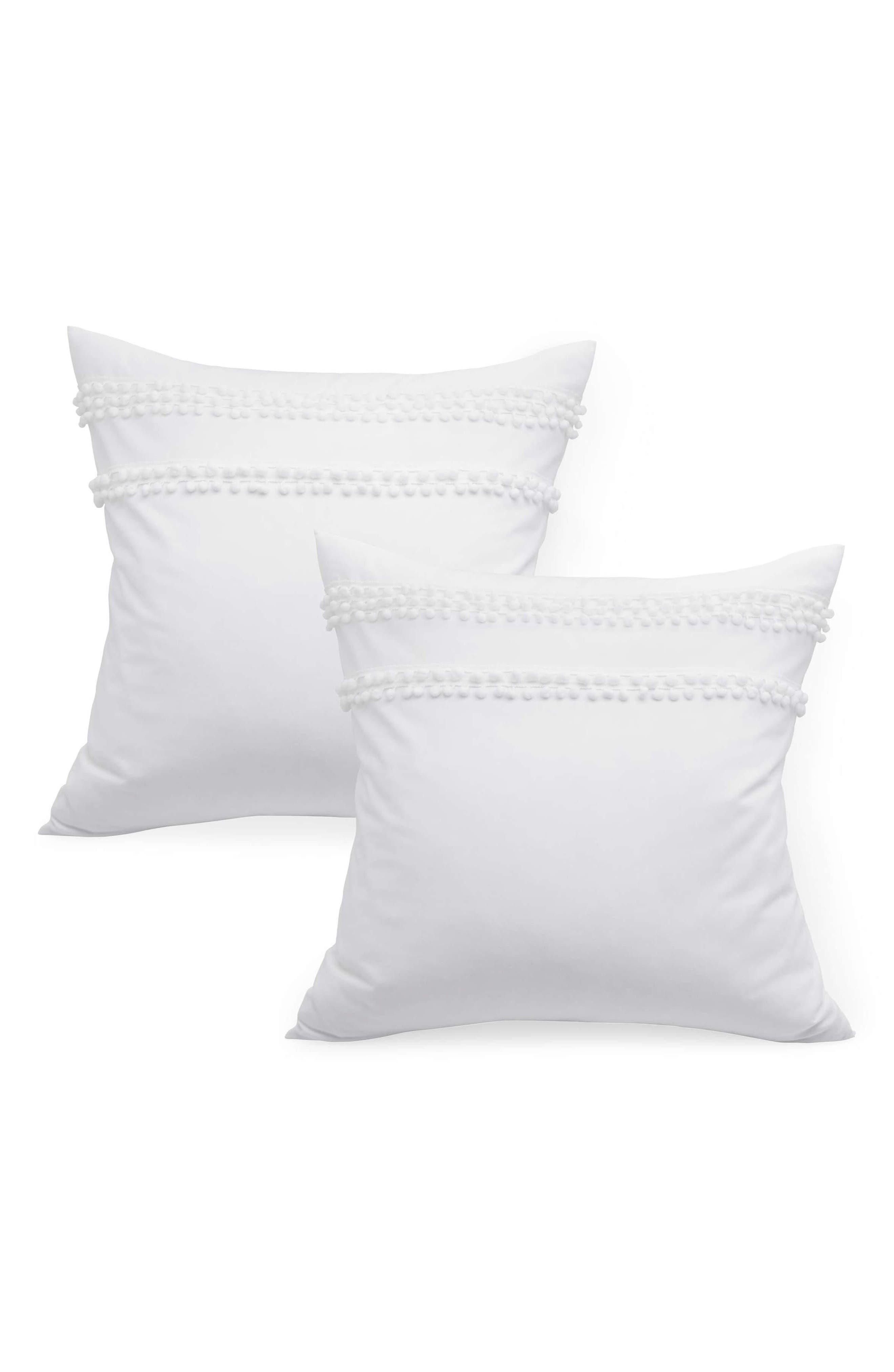 Set of 2 Pompom Euro Shams,                         Main,                         color, WHITE