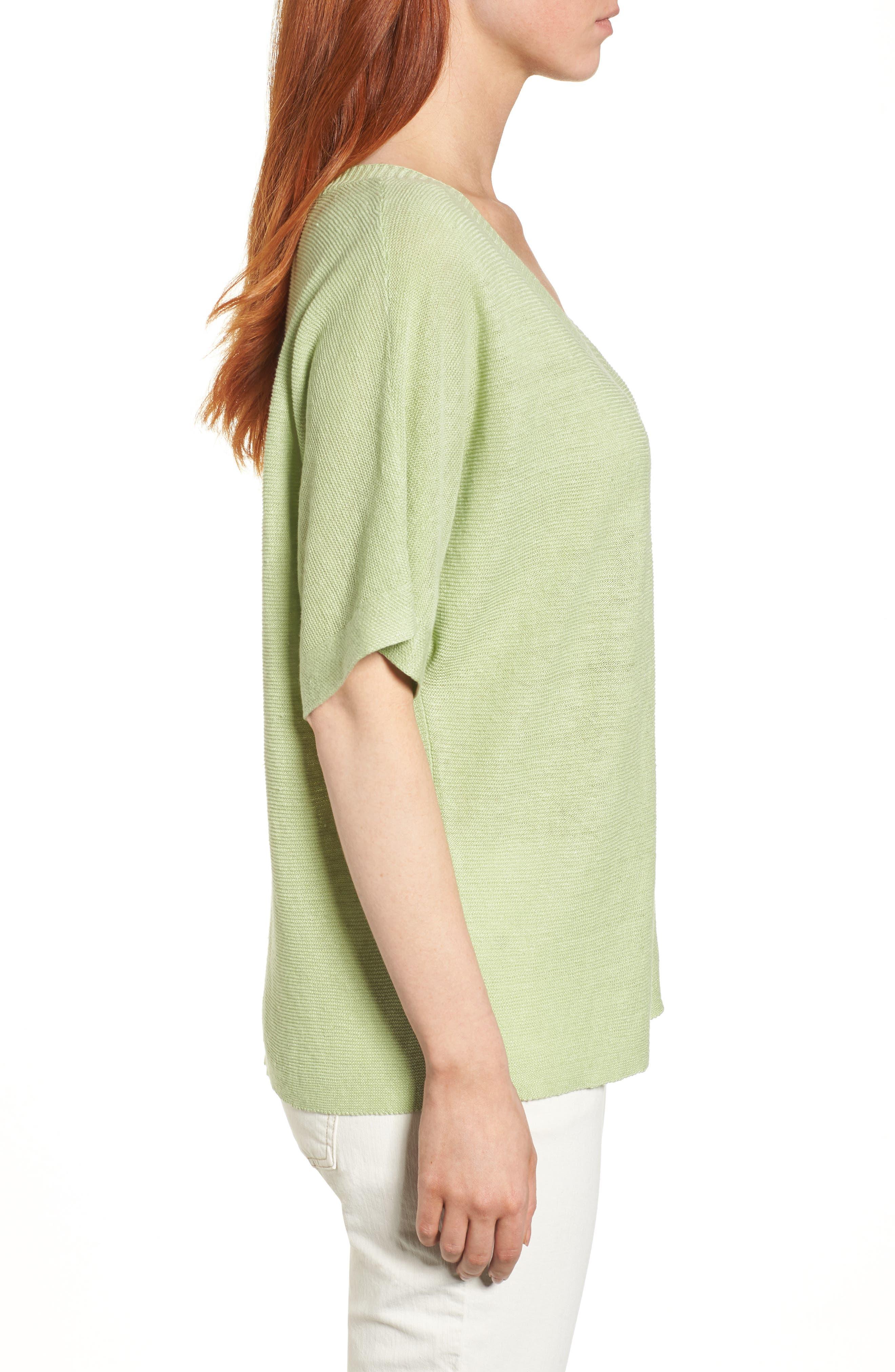 V-Neck Organic Linen Top,                             Alternate thumbnail 17, color,