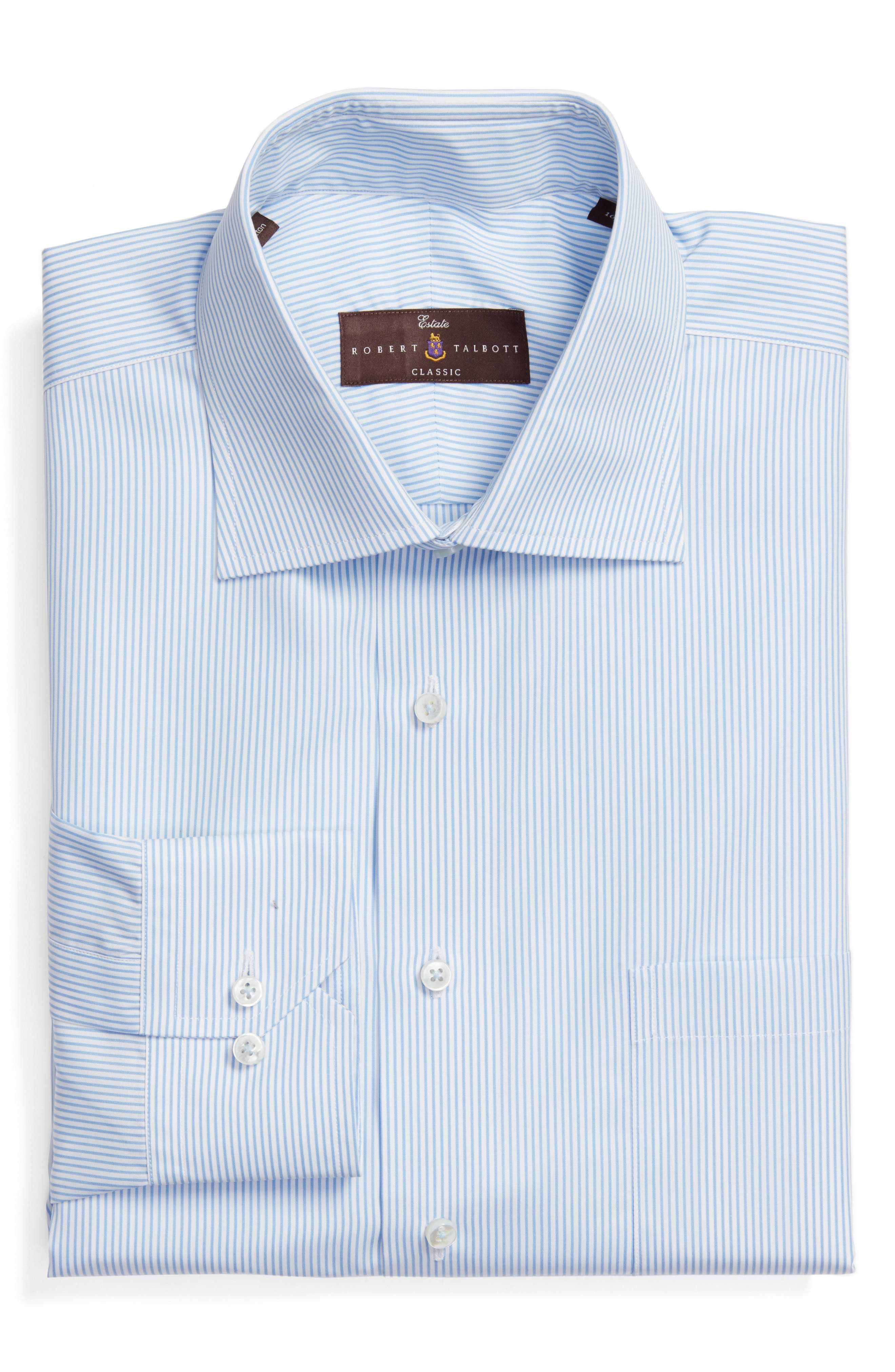 Tailored Fit Stripe Dress Shirt,                         Main,                         color, SKY