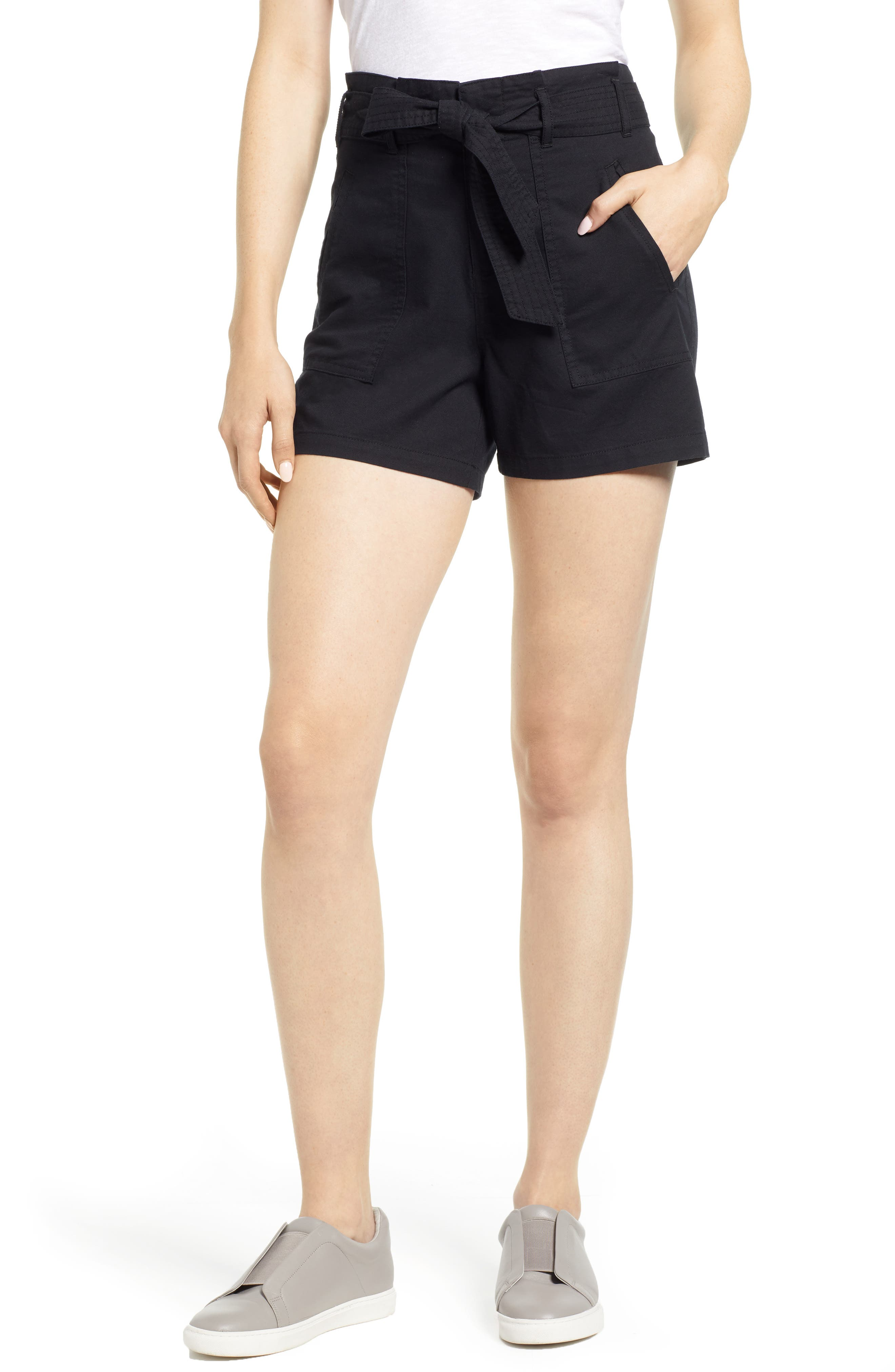 Belted Twill Shorts,                         Main,                         color, BLACK