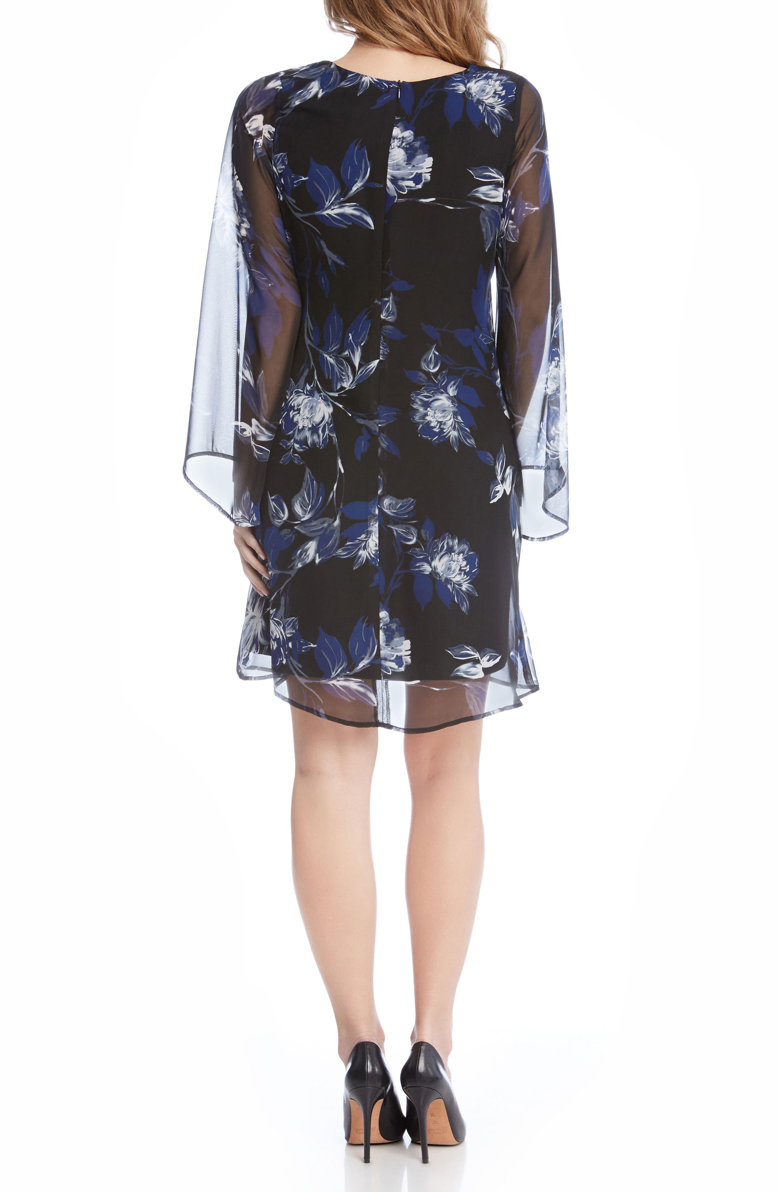 Flare Sleeve Print Chiffon Dress,                             Alternate thumbnail 2, color,                             560