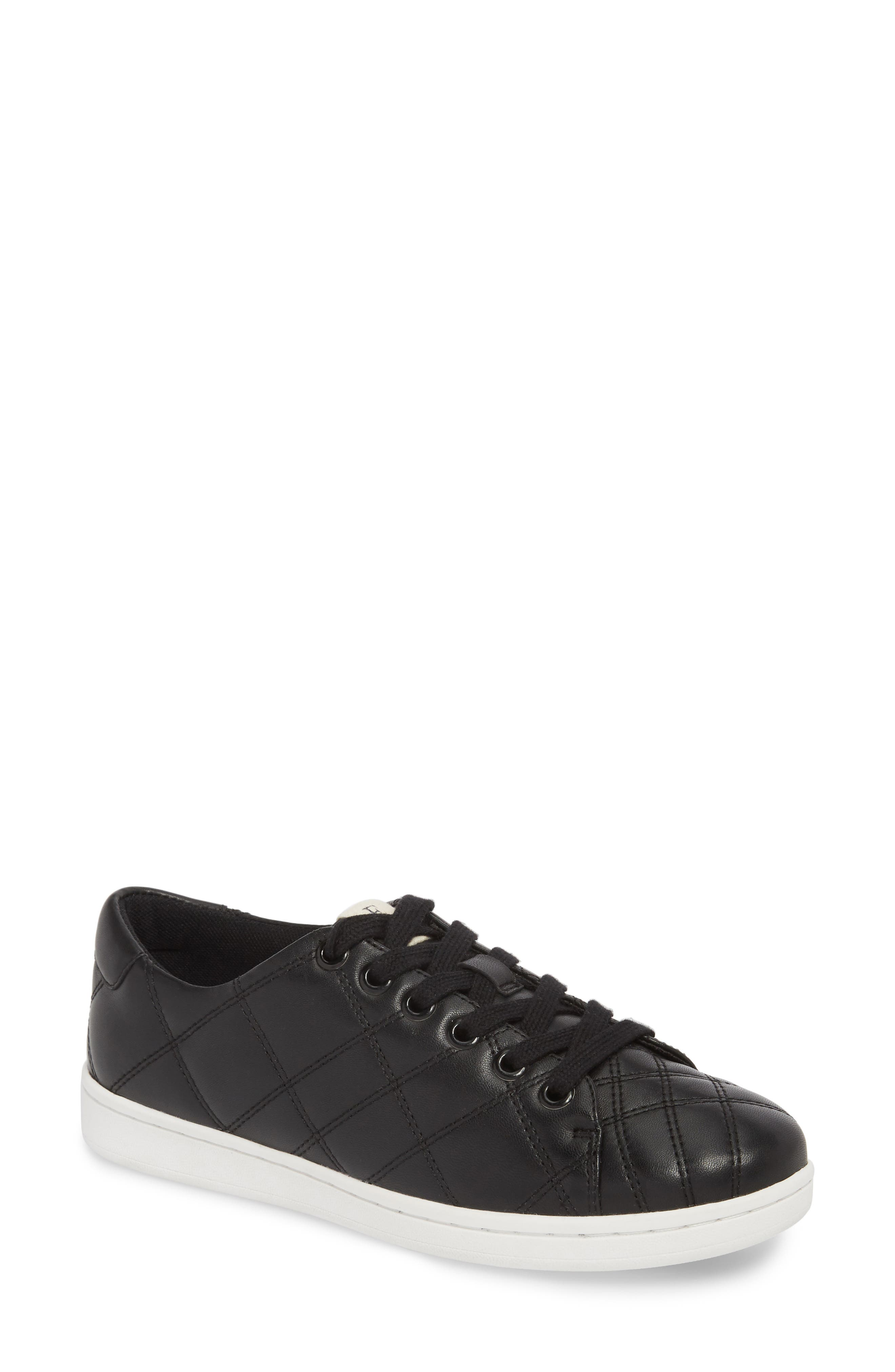 Crowley Quilted Sneaker,                             Main thumbnail 1, color,                             BLACK LEATHER