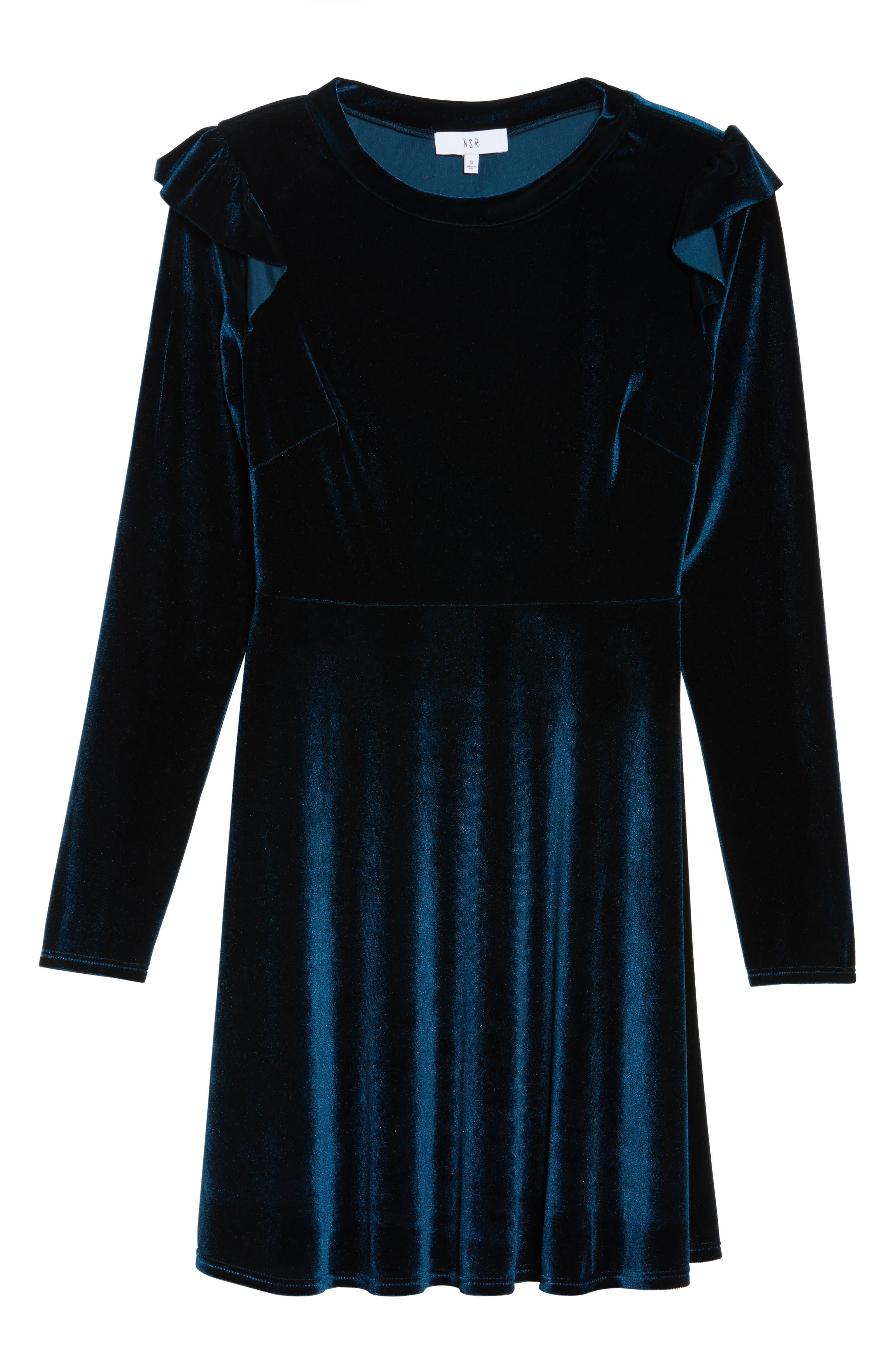 Velvet Fit & Flare Dress,                             Alternate thumbnail 11, color,
