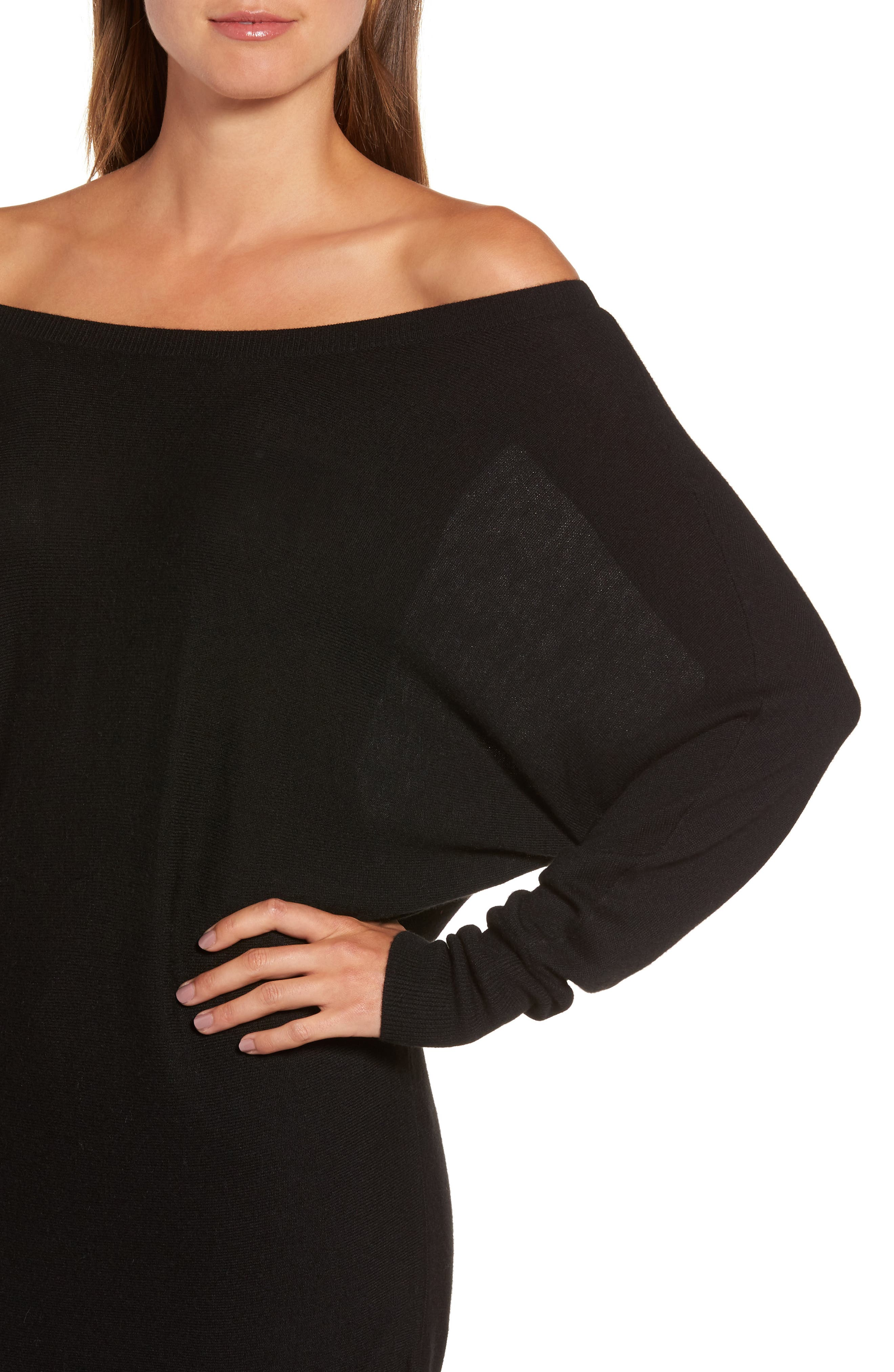 Off the Shoulder Sweater Tunic,                             Alternate thumbnail 4, color,                             001