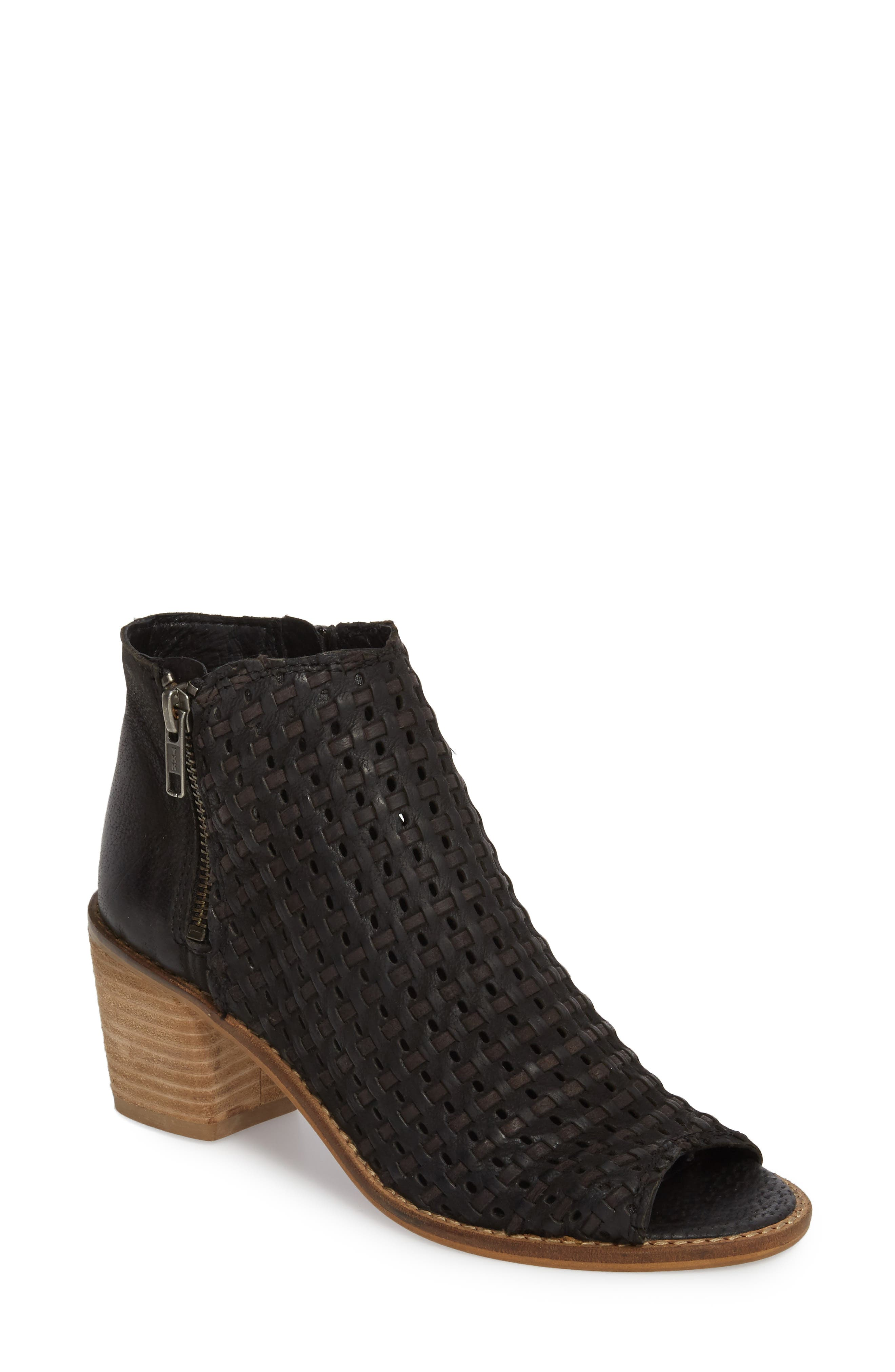 Waterfront Peep Toe Bootie,                             Main thumbnail 1, color,                             BLACK LEATHER