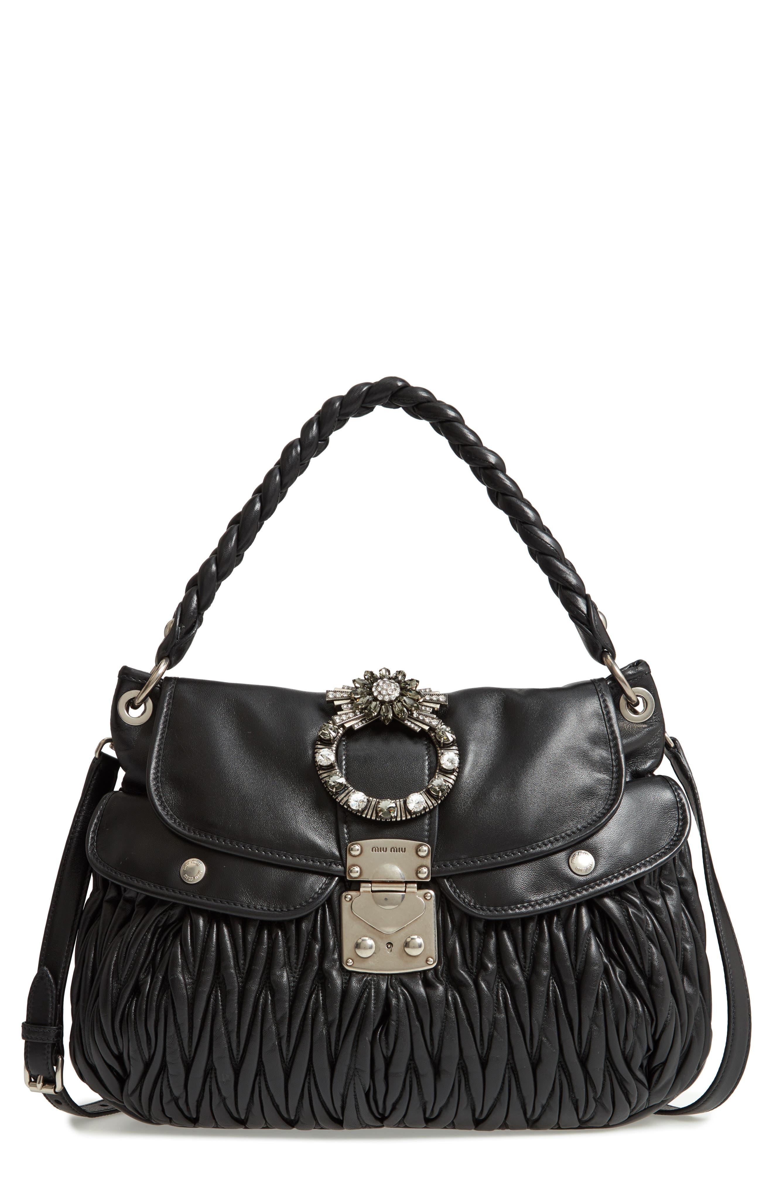 Matelassé Lambskin Leather Shoulder Bag,                             Main thumbnail 1, color,                             NERO