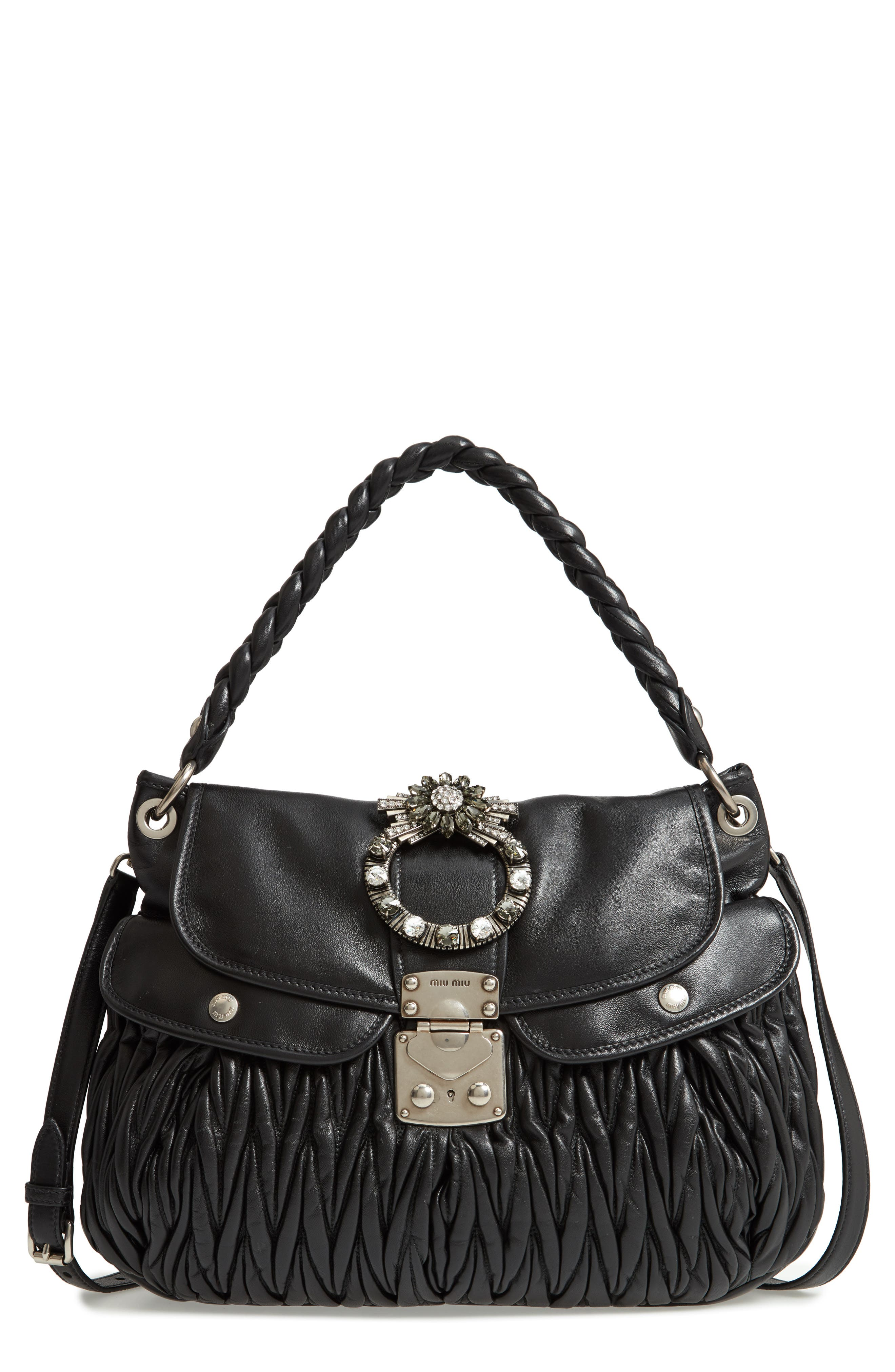 Matelassé Lambskin Leather Shoulder Bag,                         Main,                         color, NERO