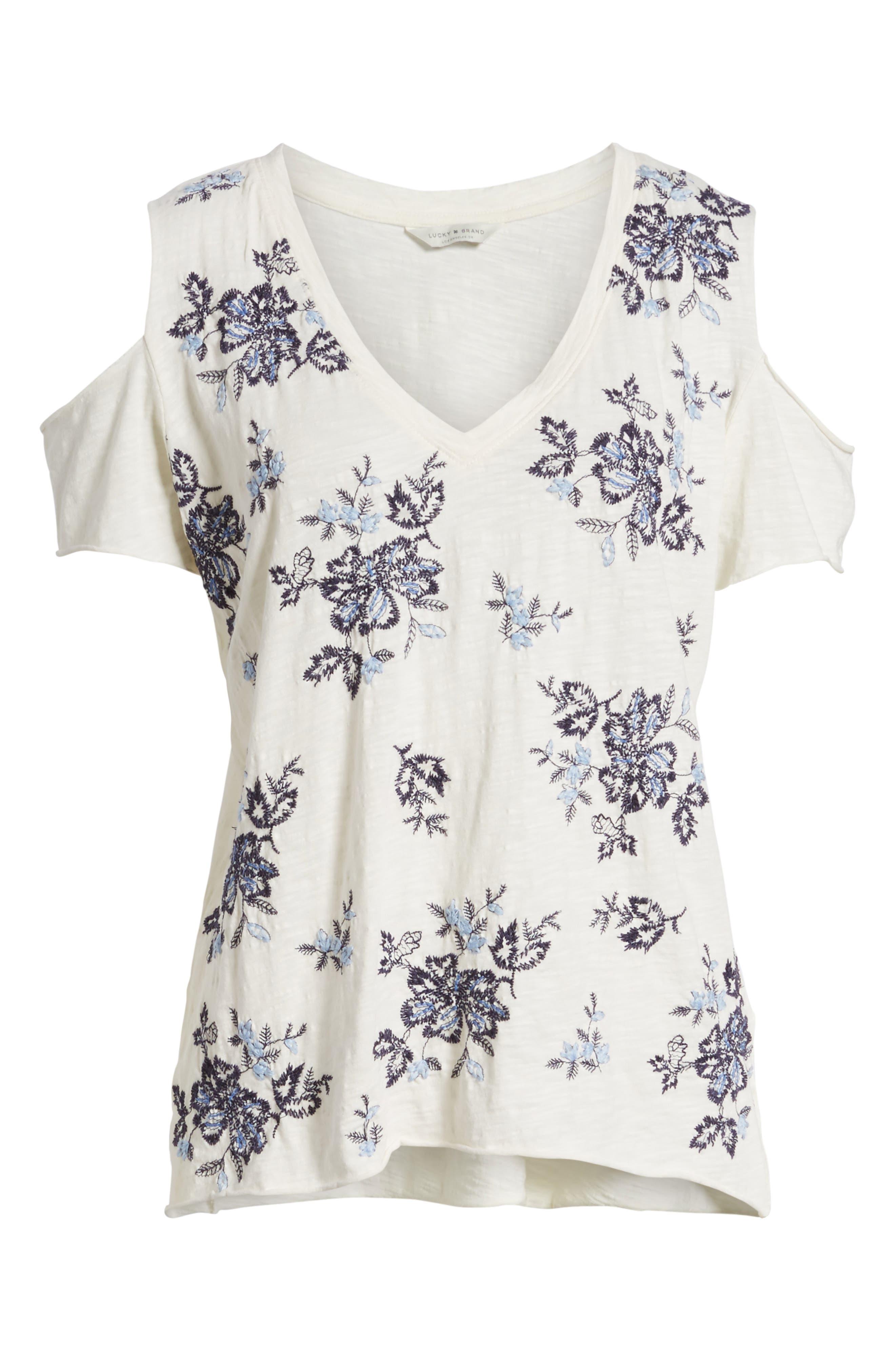 Floral Embroidered Cold Shoulder Top,                             Alternate thumbnail 6, color,                             460