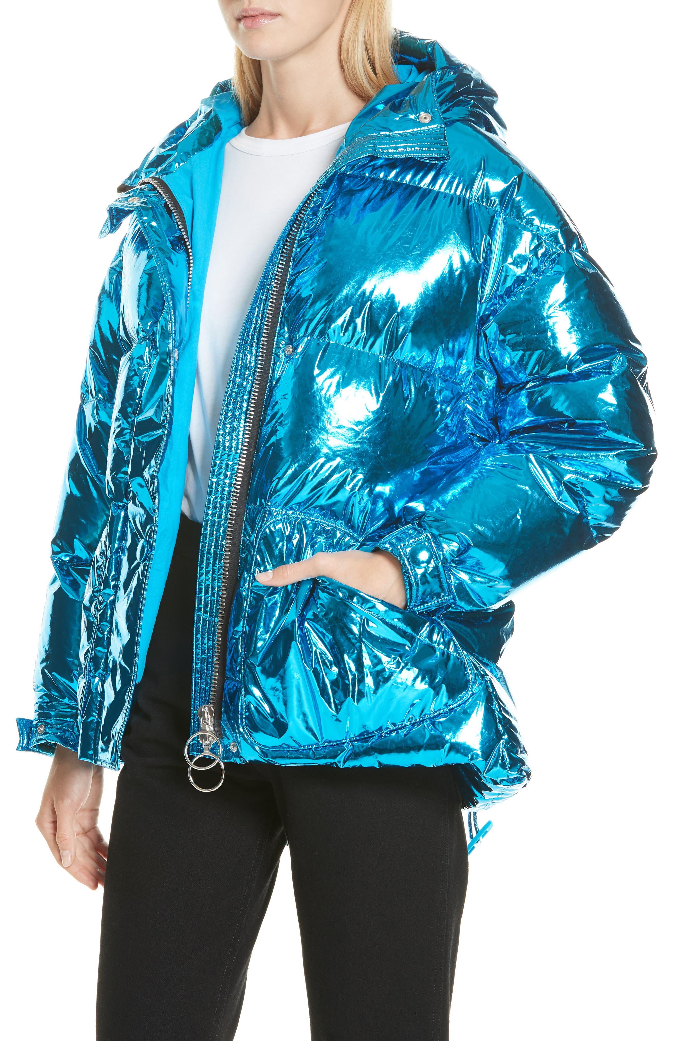 Michelin Hooded Down Puffer Coat,                             Alternate thumbnail 4, color,                             BLUE FOIL