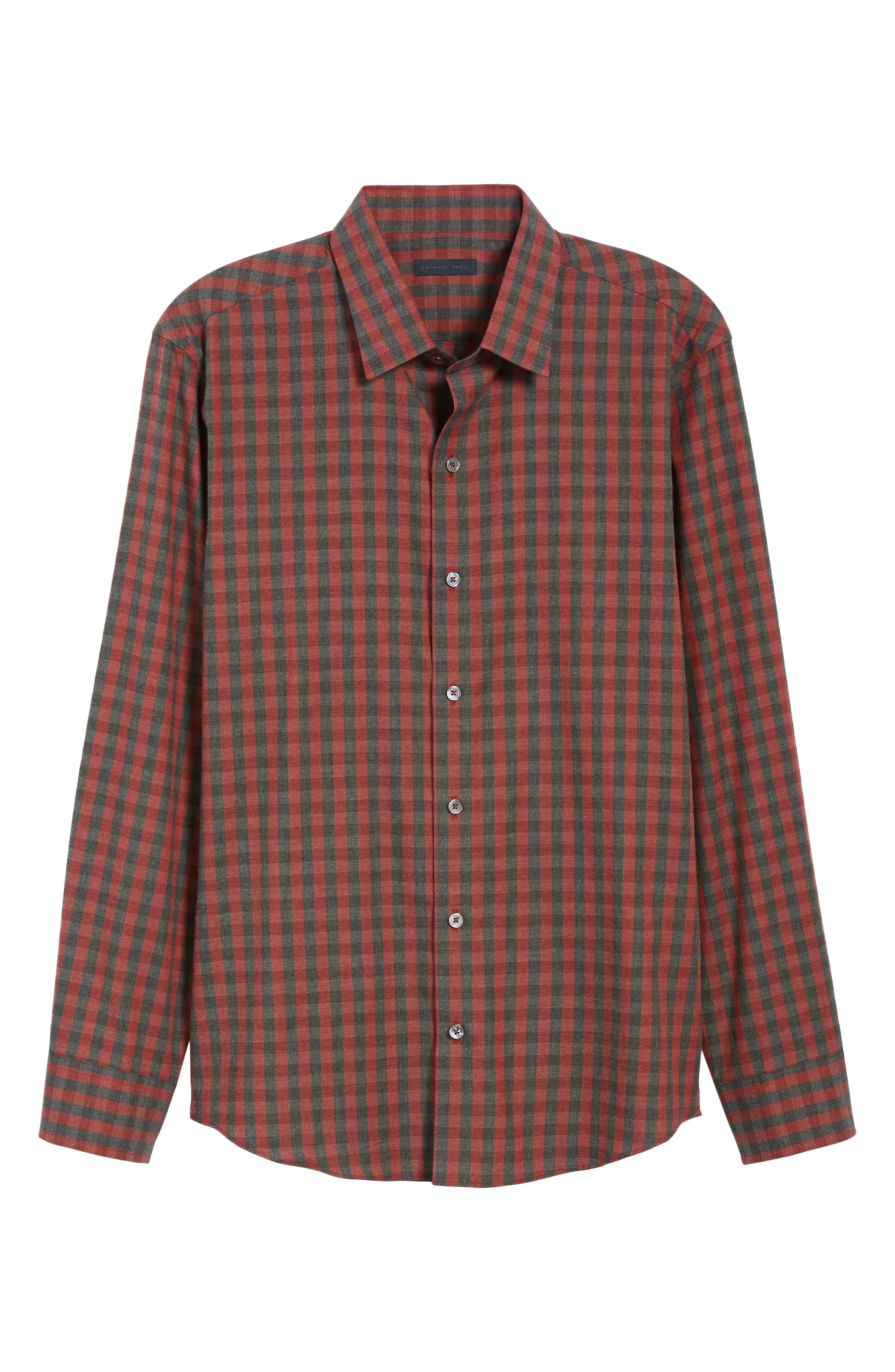 Lieberman Regular Fit Check Sport Shirt,                             Alternate thumbnail 5, color,                             RED