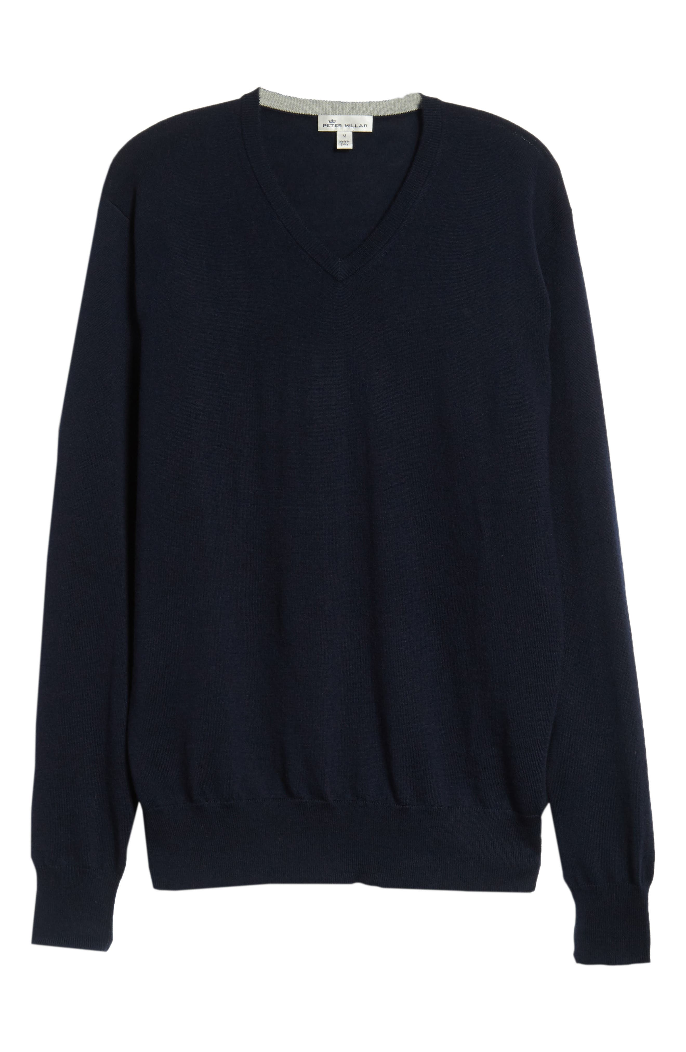 Wool & Silk V-Neck Sweater,                             Alternate thumbnail 6, color,                             NAVY