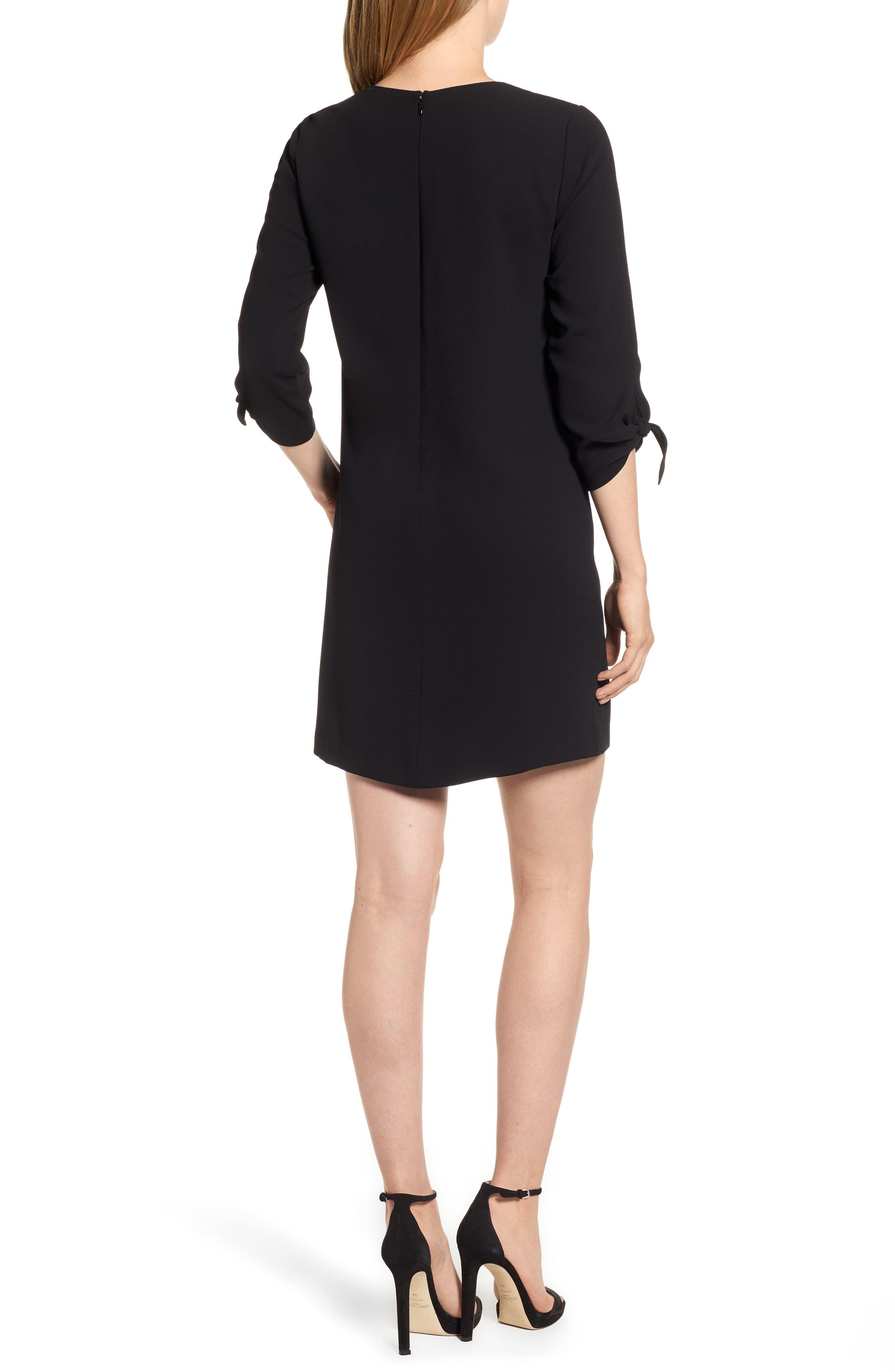 Tie Sleeve Shift Dress,                             Alternate thumbnail 2, color,                             RICH BLACK