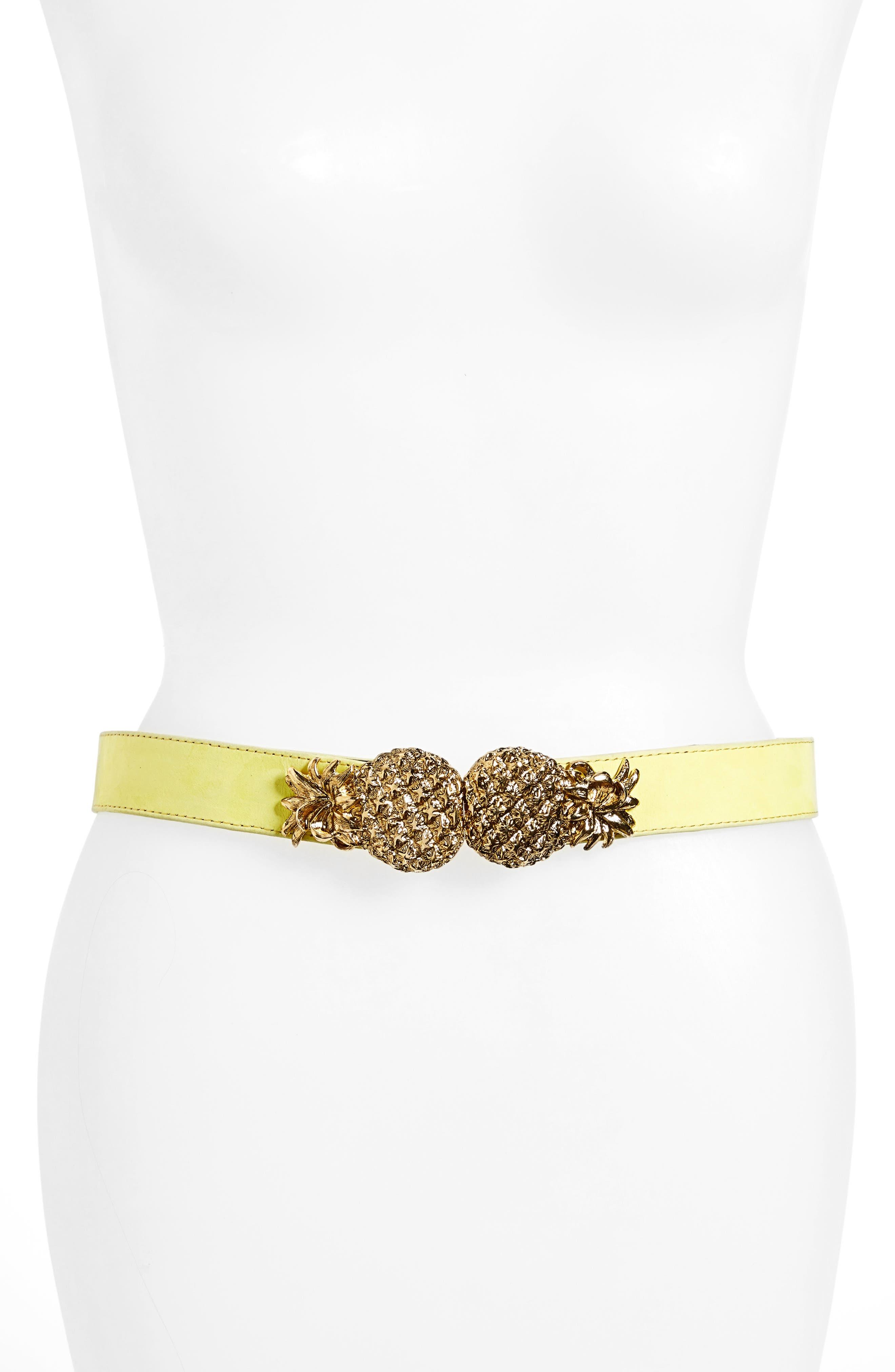 Raina Pina Leather Belt, Size One Size - Yellow