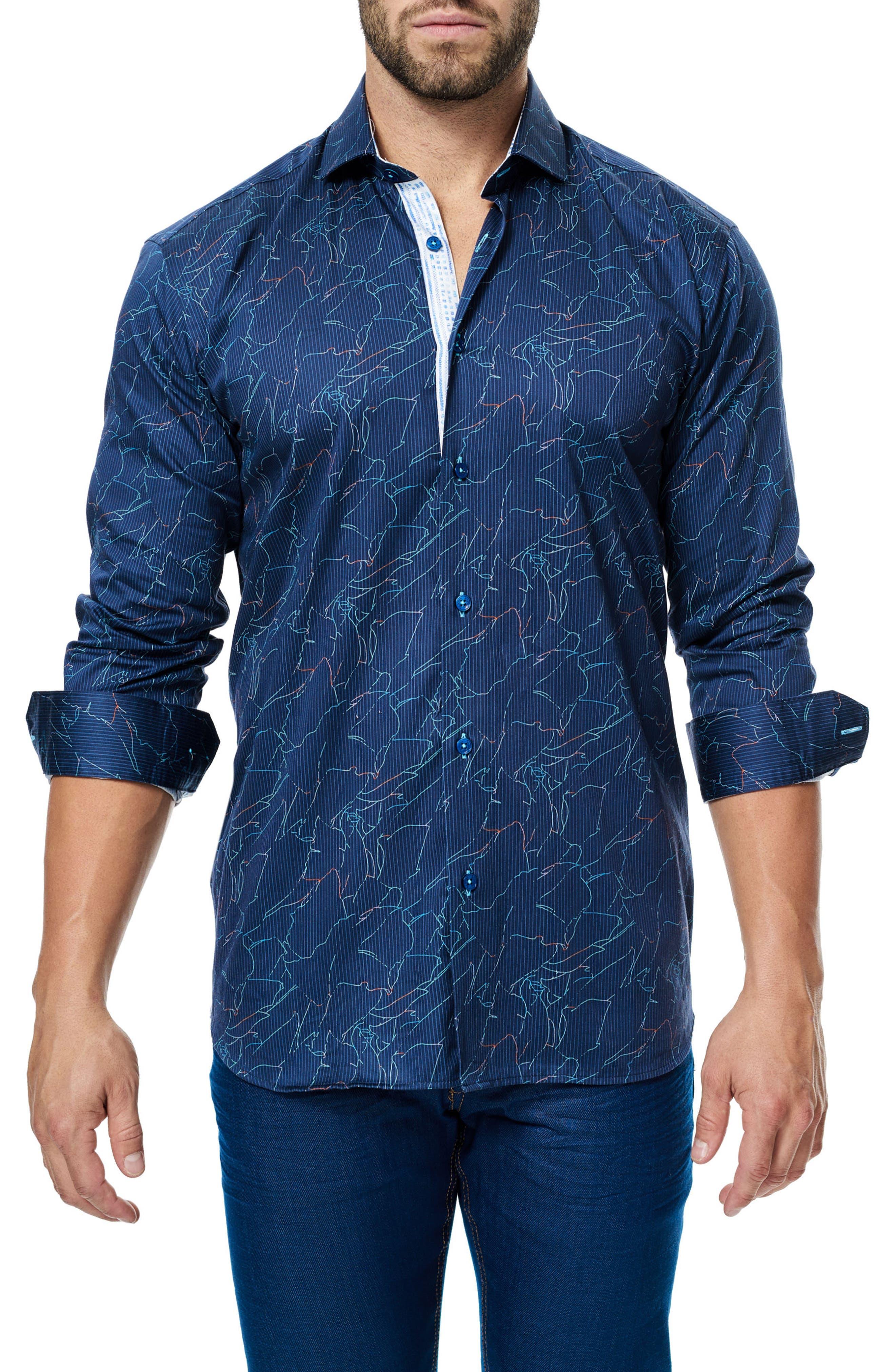 Class Zigzag Print Sport Shirt,                         Main,                         color,