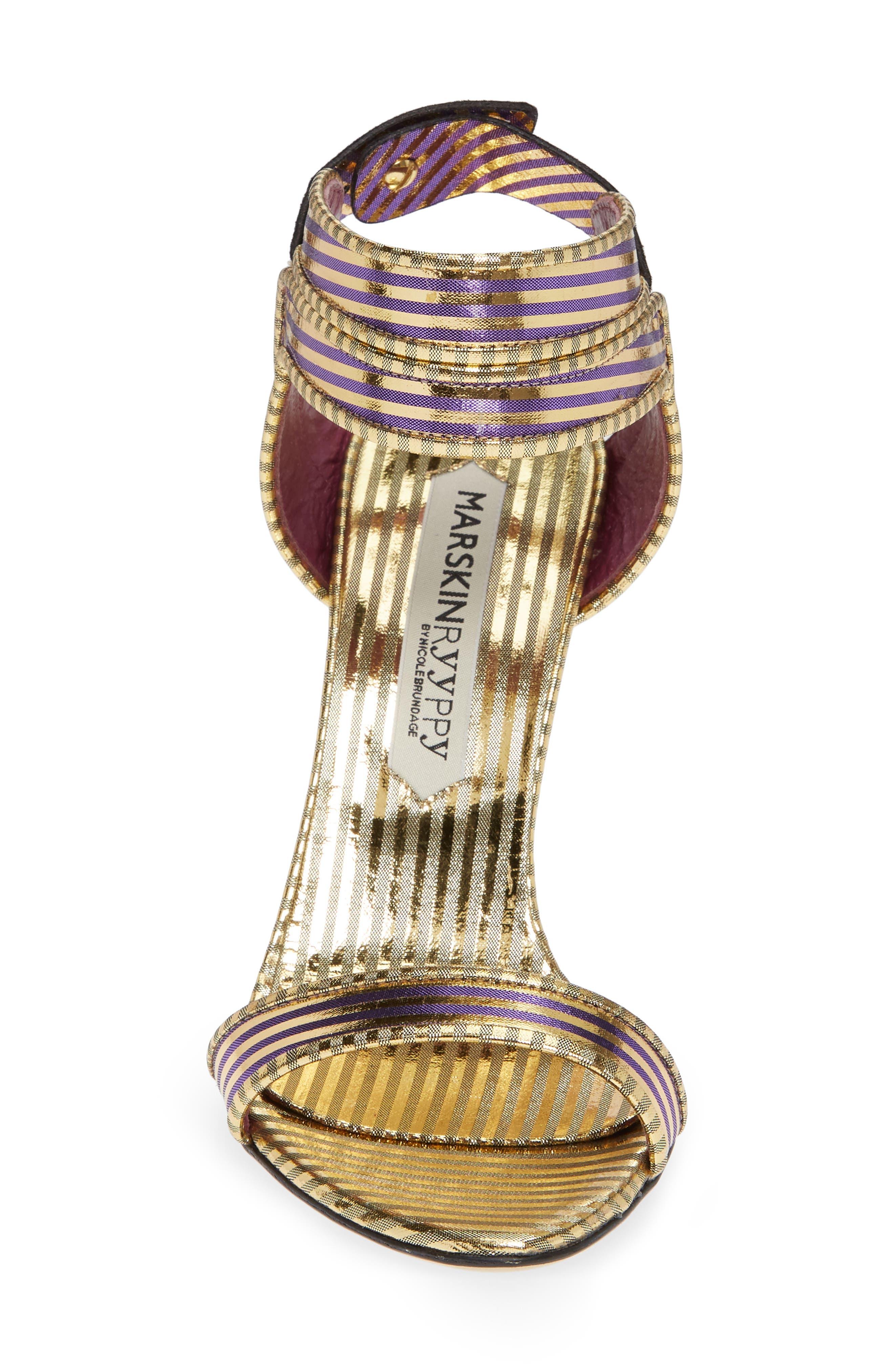 Wynona Stripe Sandal,                             Alternate thumbnail 4, color,                             GOLD PURPLE STRIPED