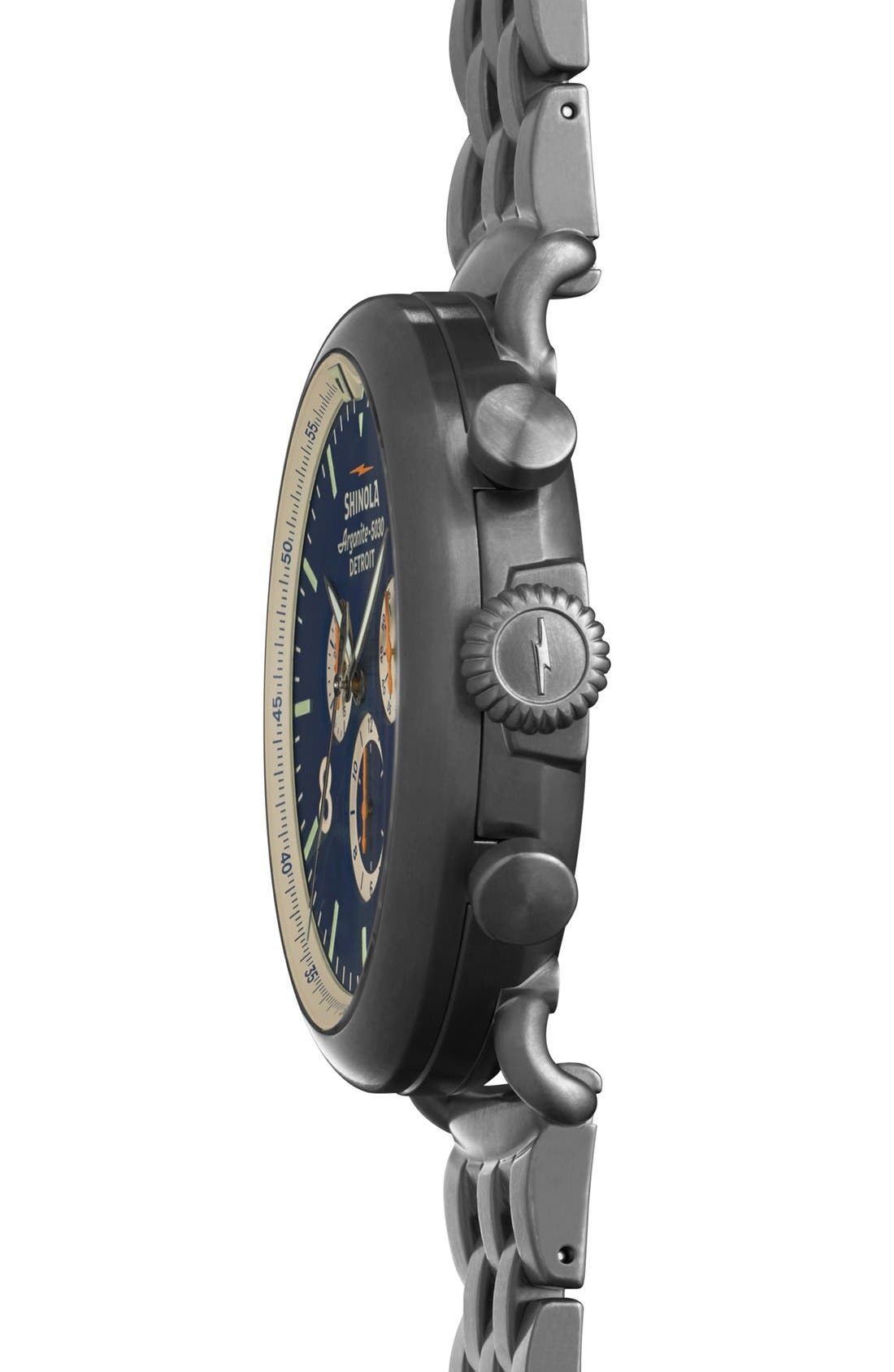 The Runwell Contrast Chrono Bracelet Watch, 47mm,                             Alternate thumbnail 4, color,                             GUNMETAL/ BLUE