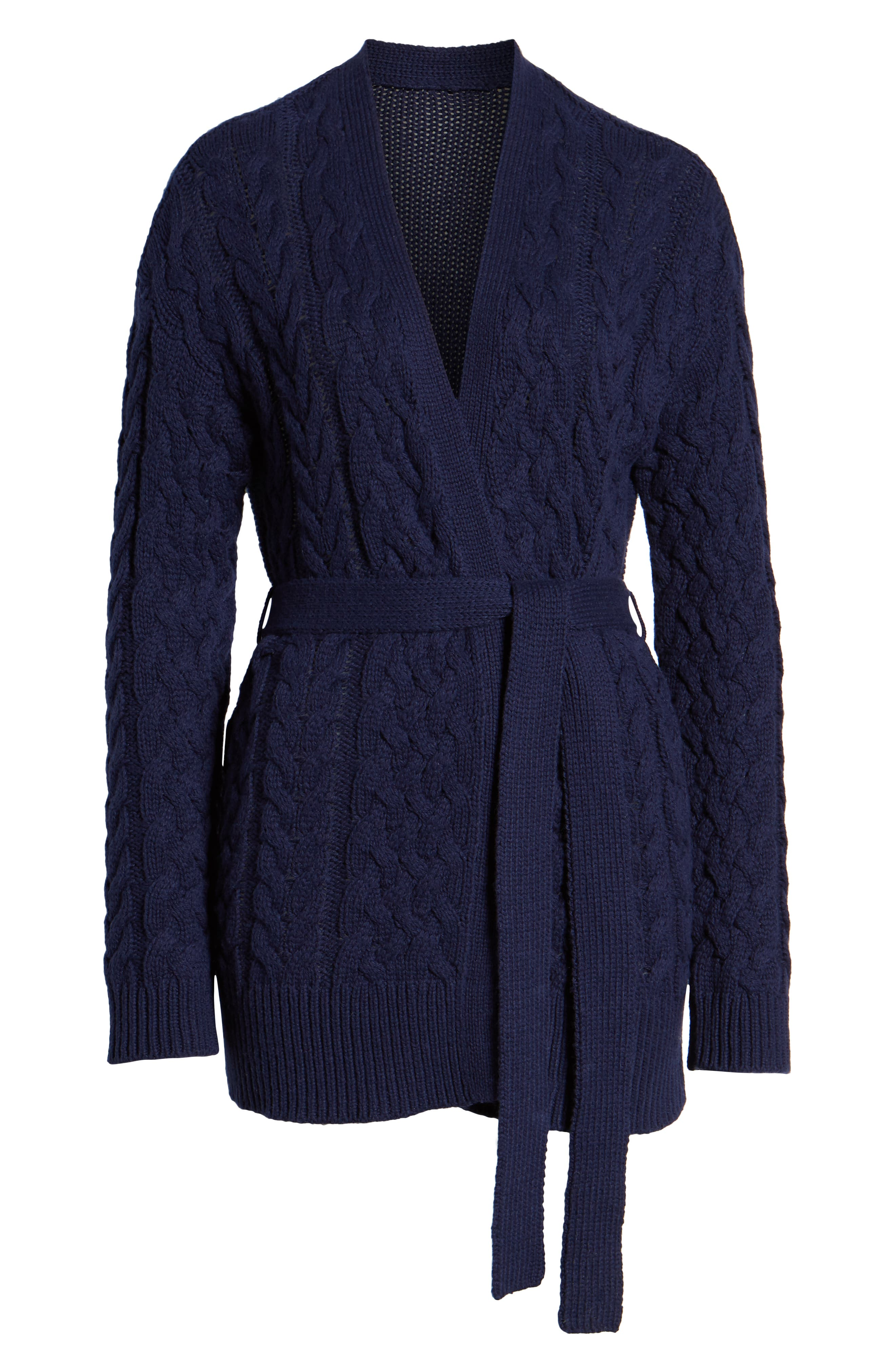 TREASURE & BOND,                             Cable Knit Belted Wrap Cardigan,                             Alternate thumbnail 6, color,                             NAVY MARITIME