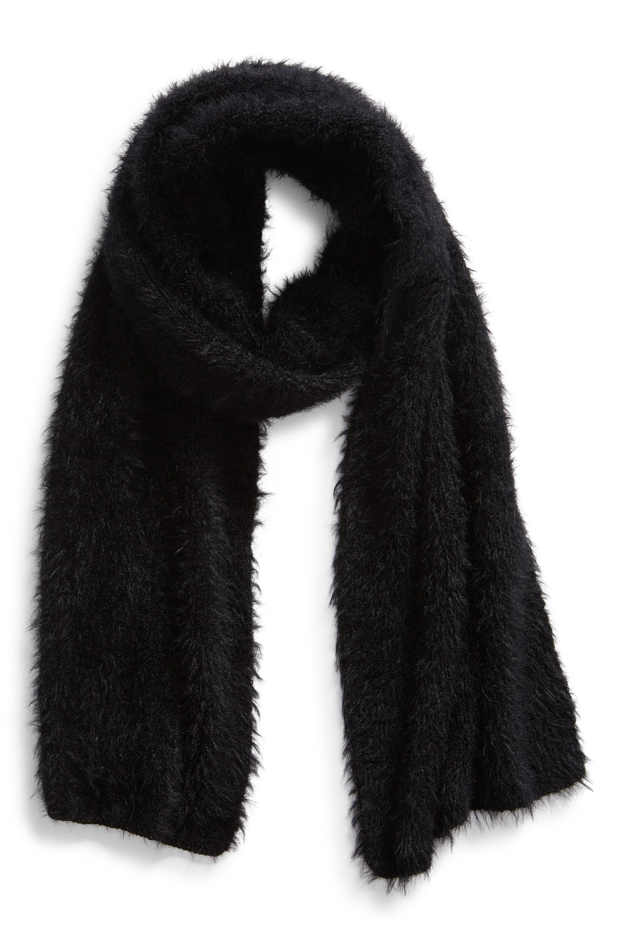 Eyleash Knit Muffler,                             Alternate thumbnail 2, color,                             BLACK