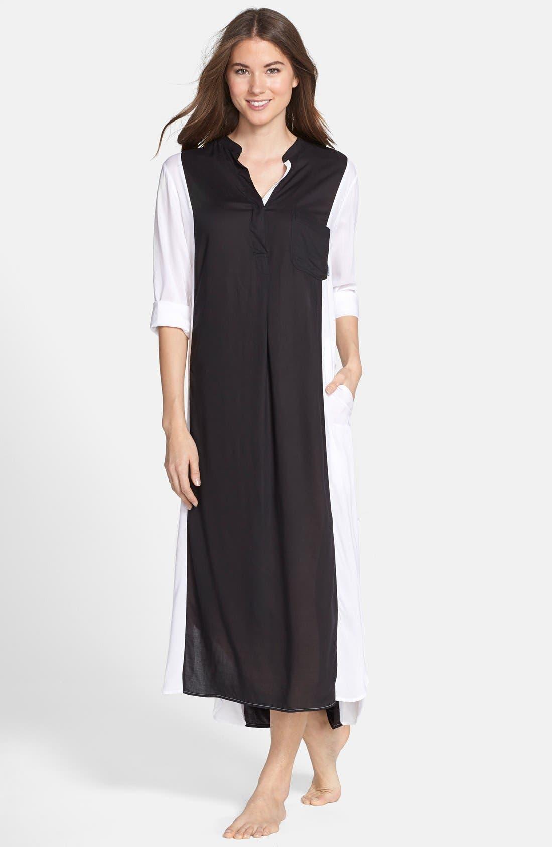 Colorblock Long Sleeve Woven Caftan,                         Main,                         color, 001