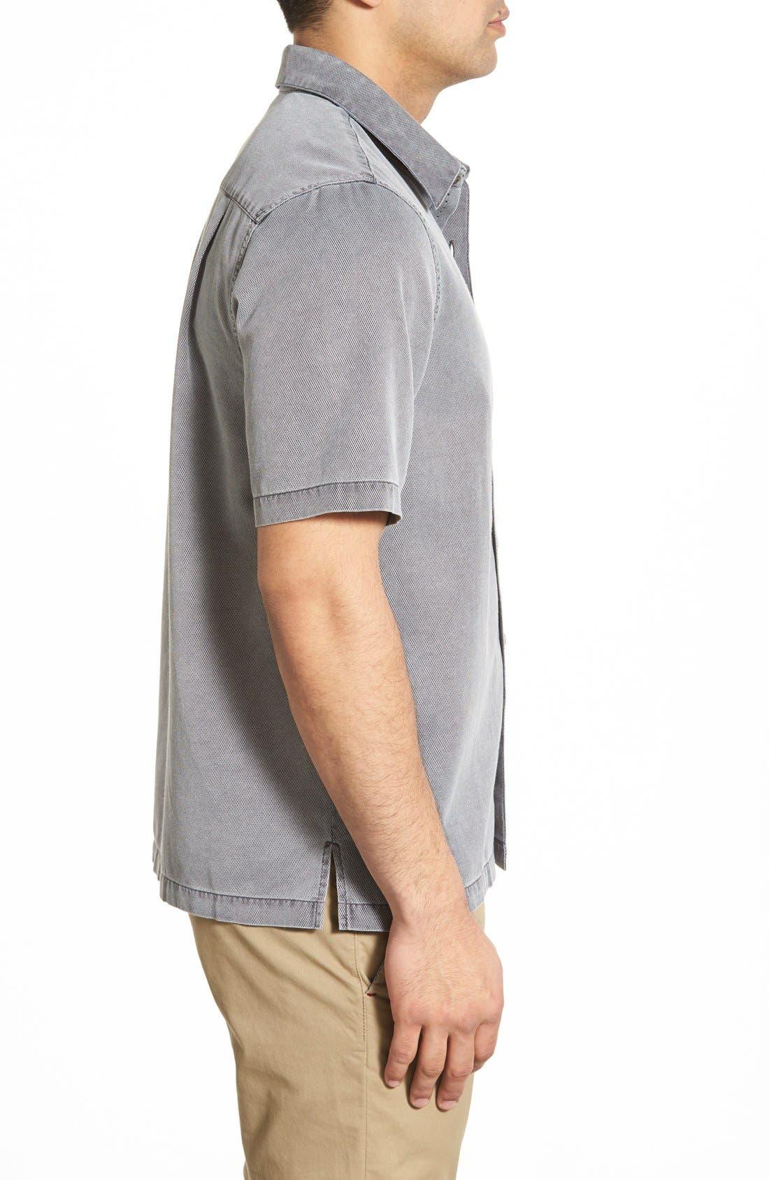 'Havana Cloth' Regular Fit Short Sleeve Silk & Cotton Sport Shirt,                             Alternate thumbnail 5, color,                             BLACK