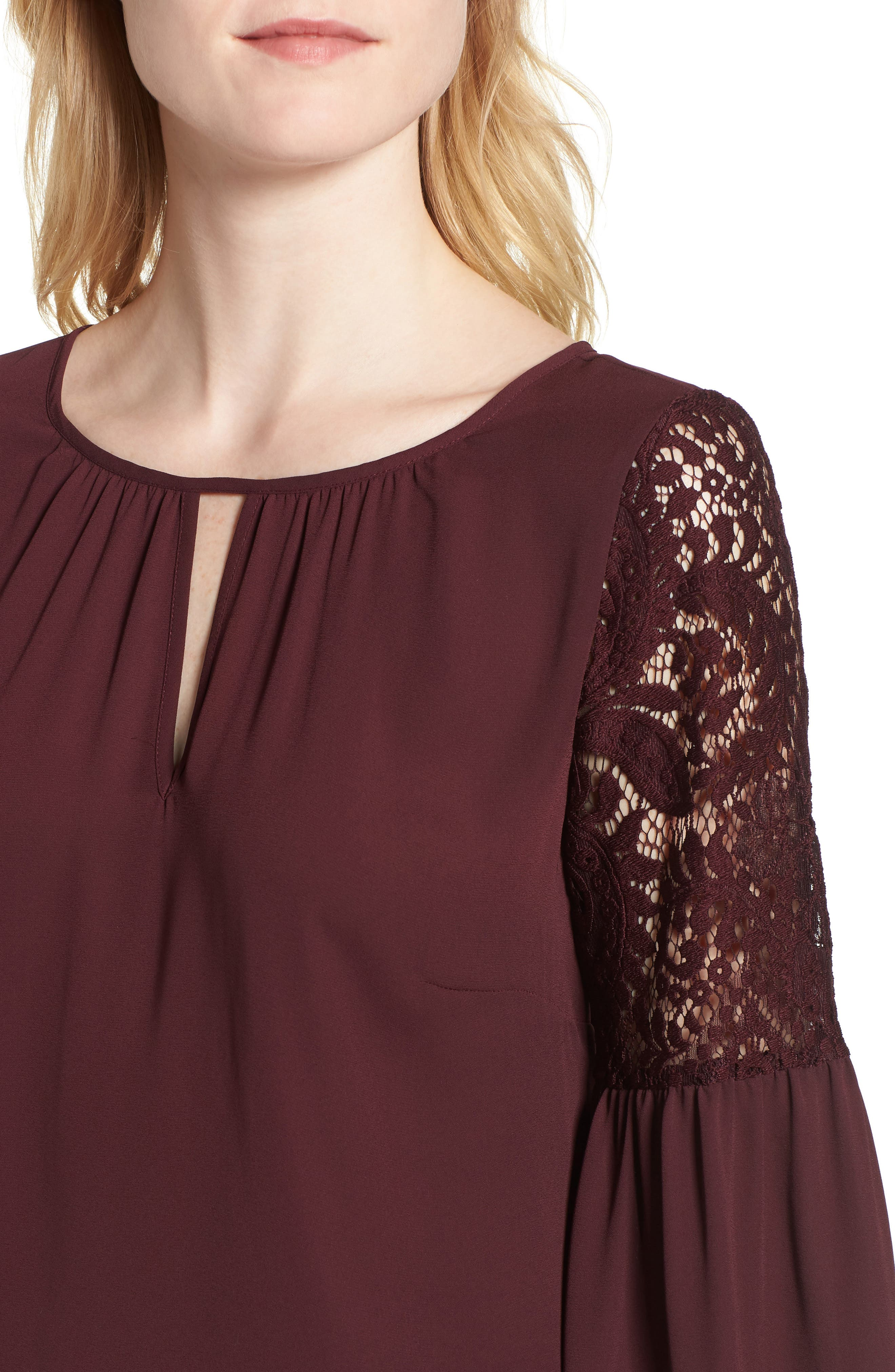 Lace Bell Sleeve Top,                             Alternate thumbnail 4, color,                             BURGUNDY STEM