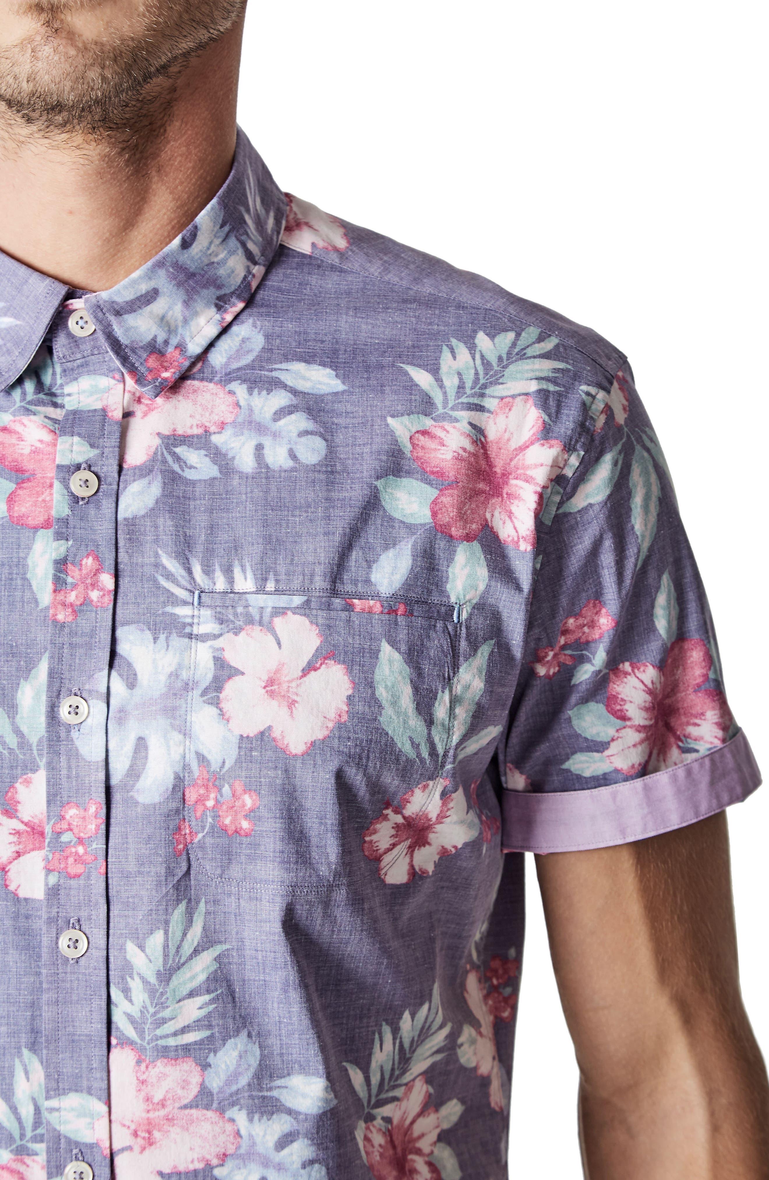 More Colors Floral Woven Sport Shirt,                             Alternate thumbnail 4, color,                             504