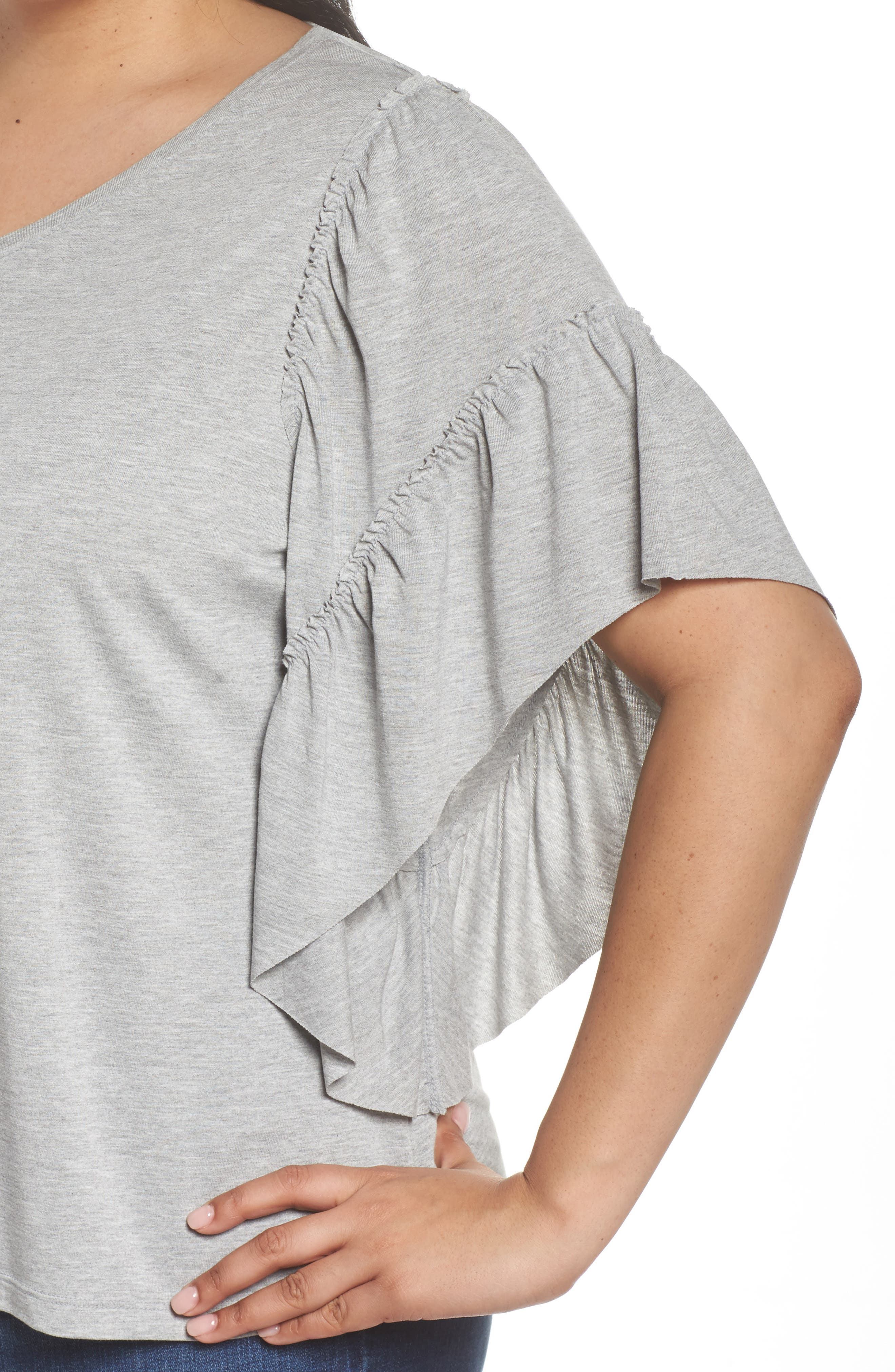 Frill Sleeve Tee,                             Alternate thumbnail 4, color,                             030